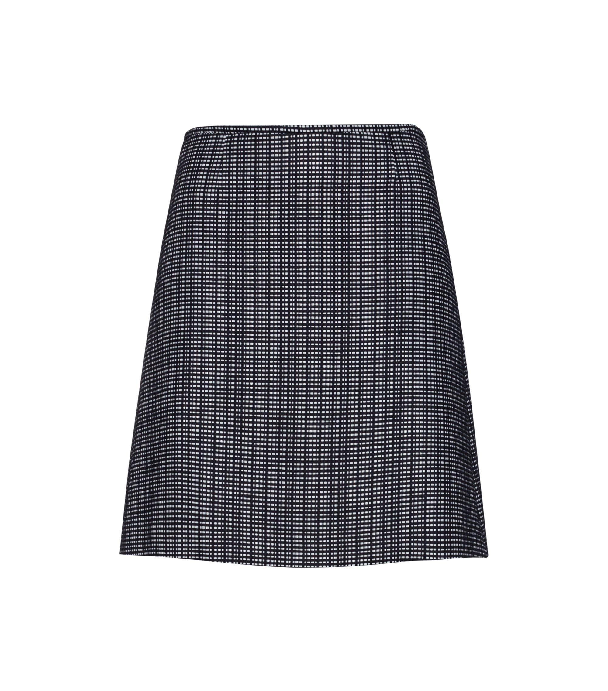 A-line cotton-blend skirt with woven check, Dark Blue