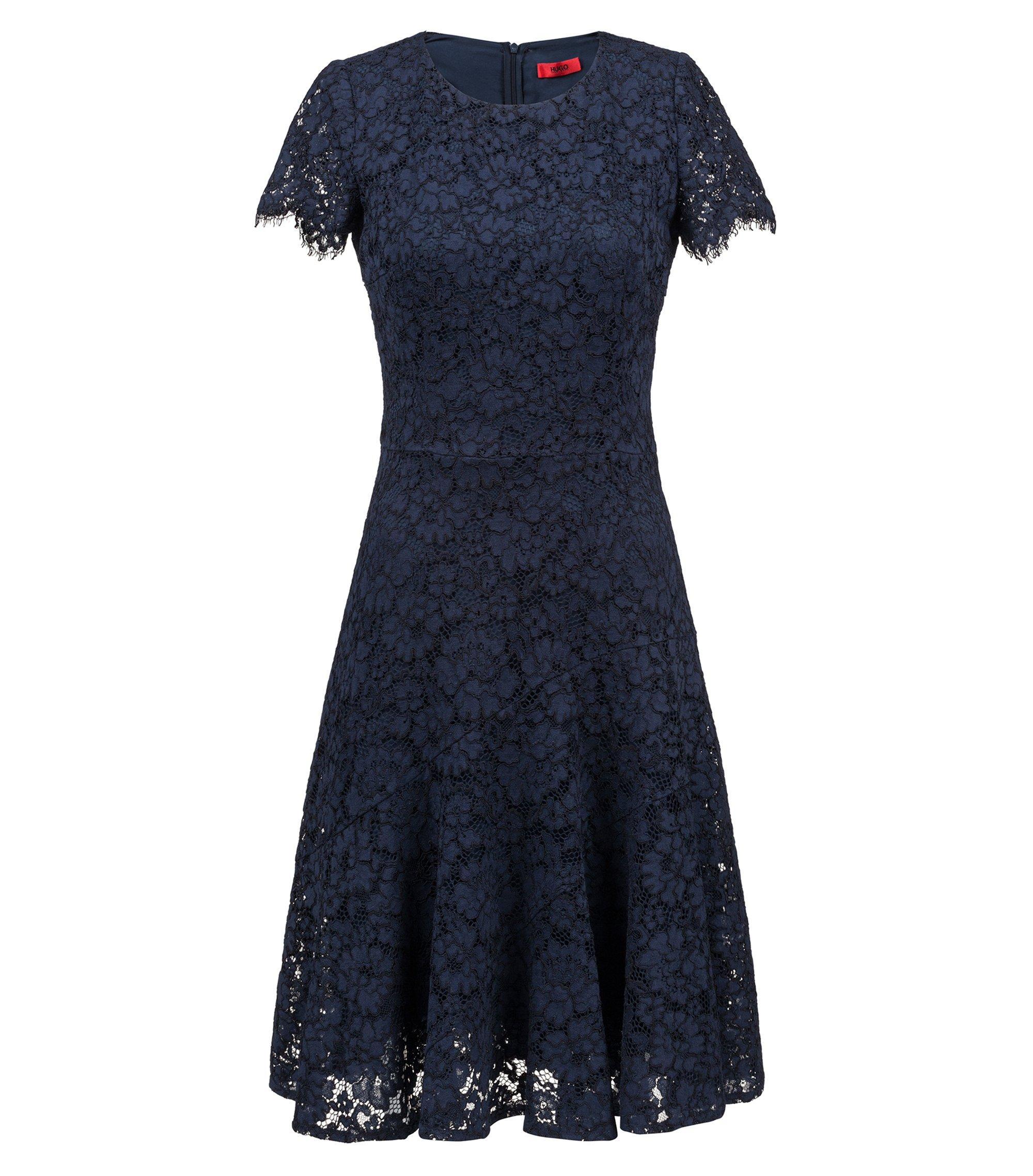 Robe en dentelle à manches courtes et jupe festonnée, Bleu foncé