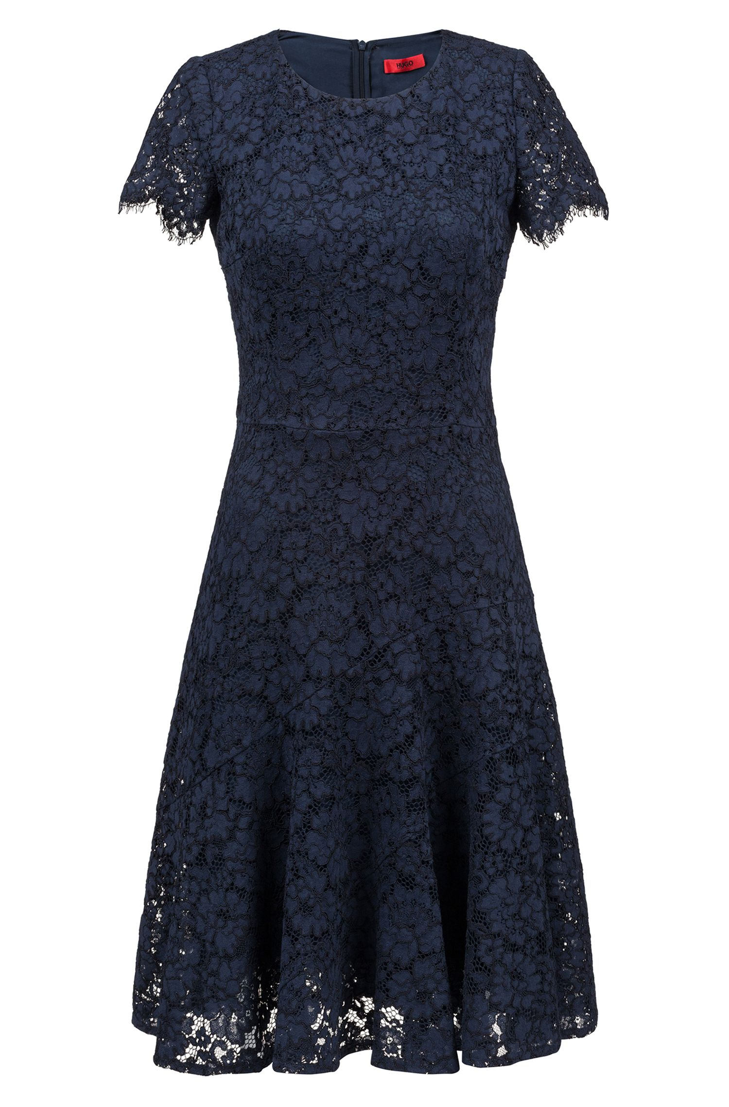Short-sleeved lace dress with scalloped skirt