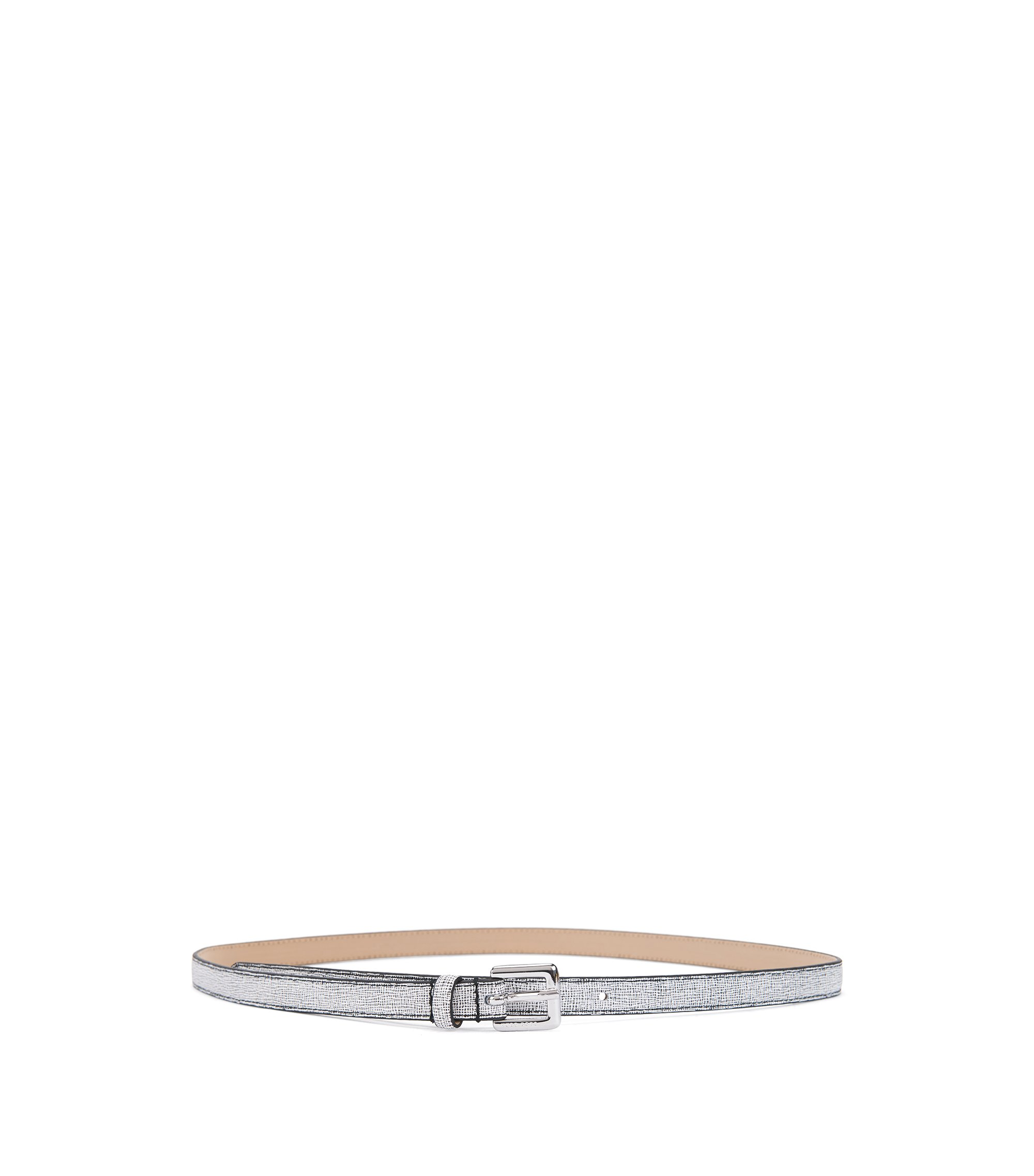 Slim belt in printed Italian leather, Open White