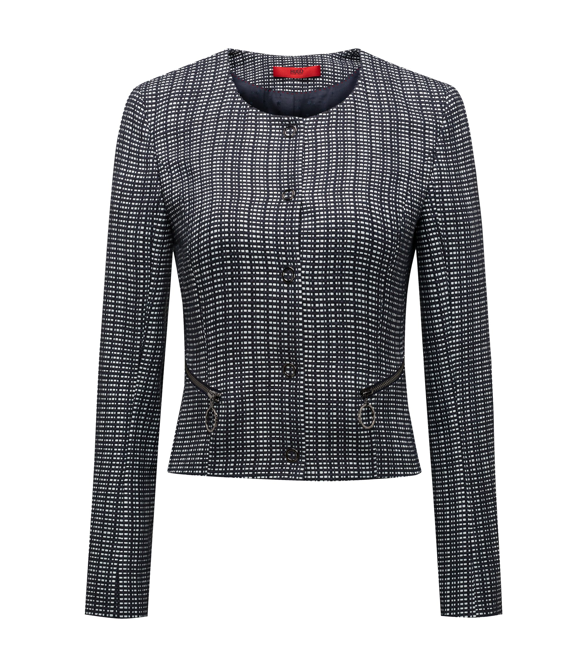 Slim-fit cropped jacket in a checked cotton blend, Dark Blue