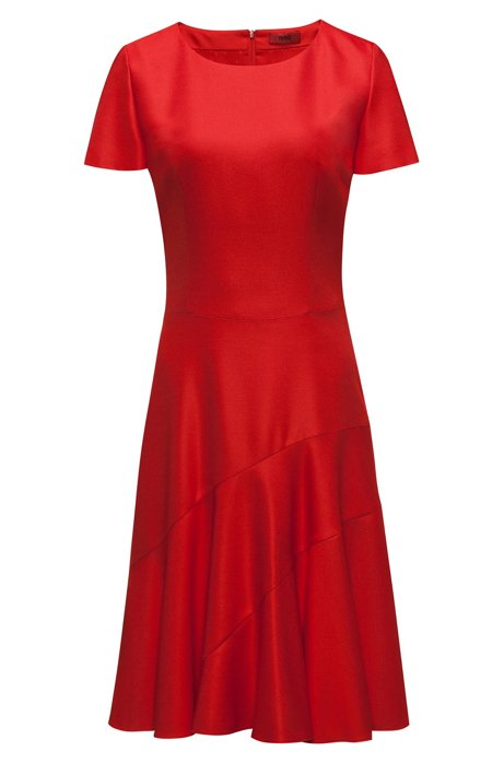 Stretch-fabric dress with panelled skirt, Red
