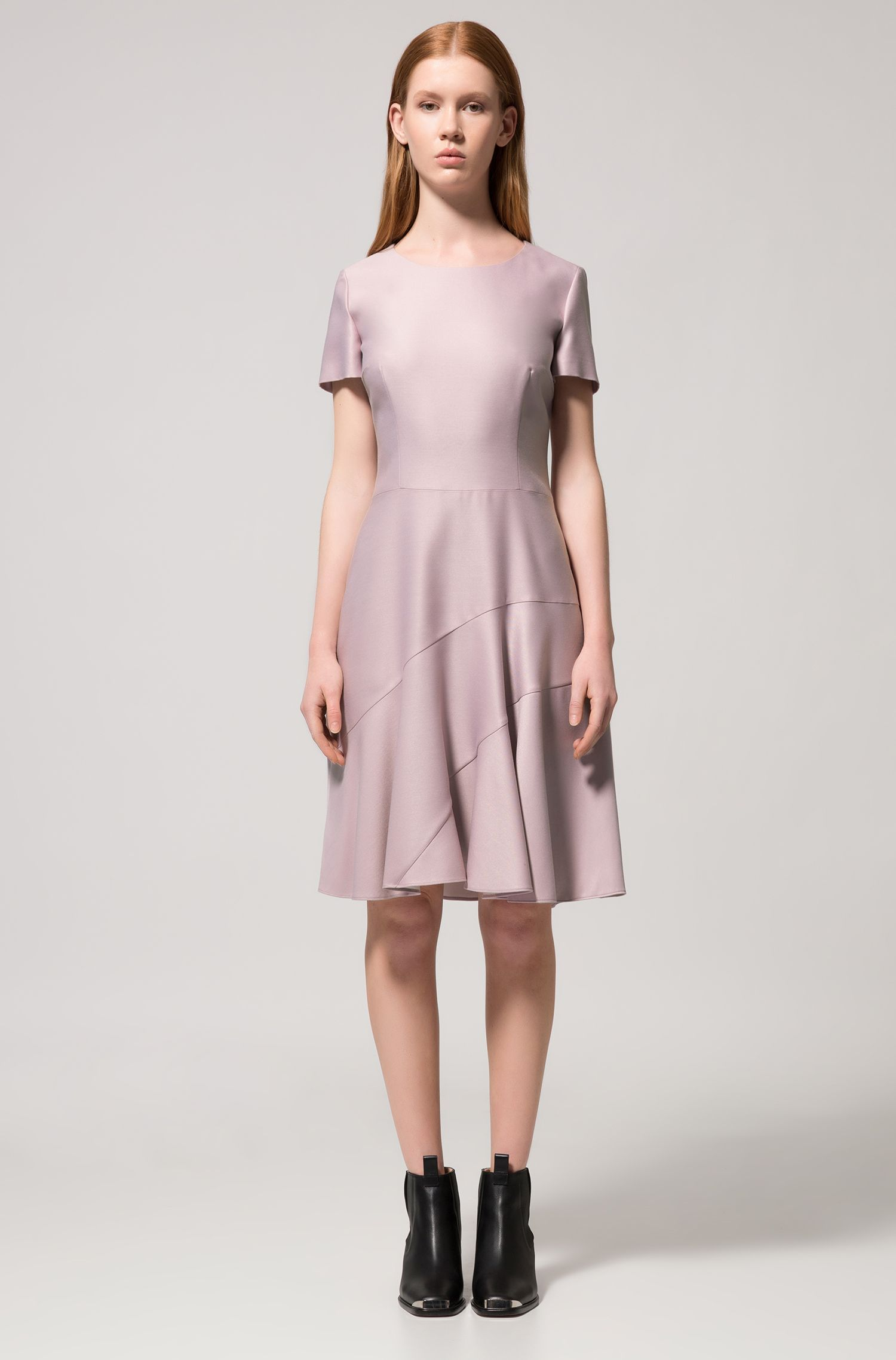 Stretch-fabric dress with panelled skirt, light pink