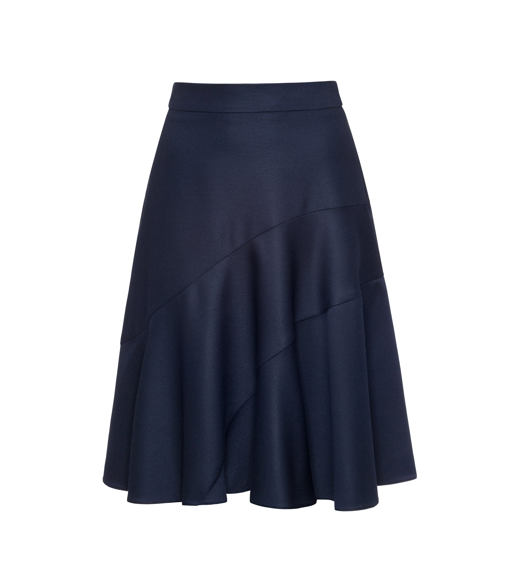 A-line skirt in lustrous stretch fabric, Dark Blue