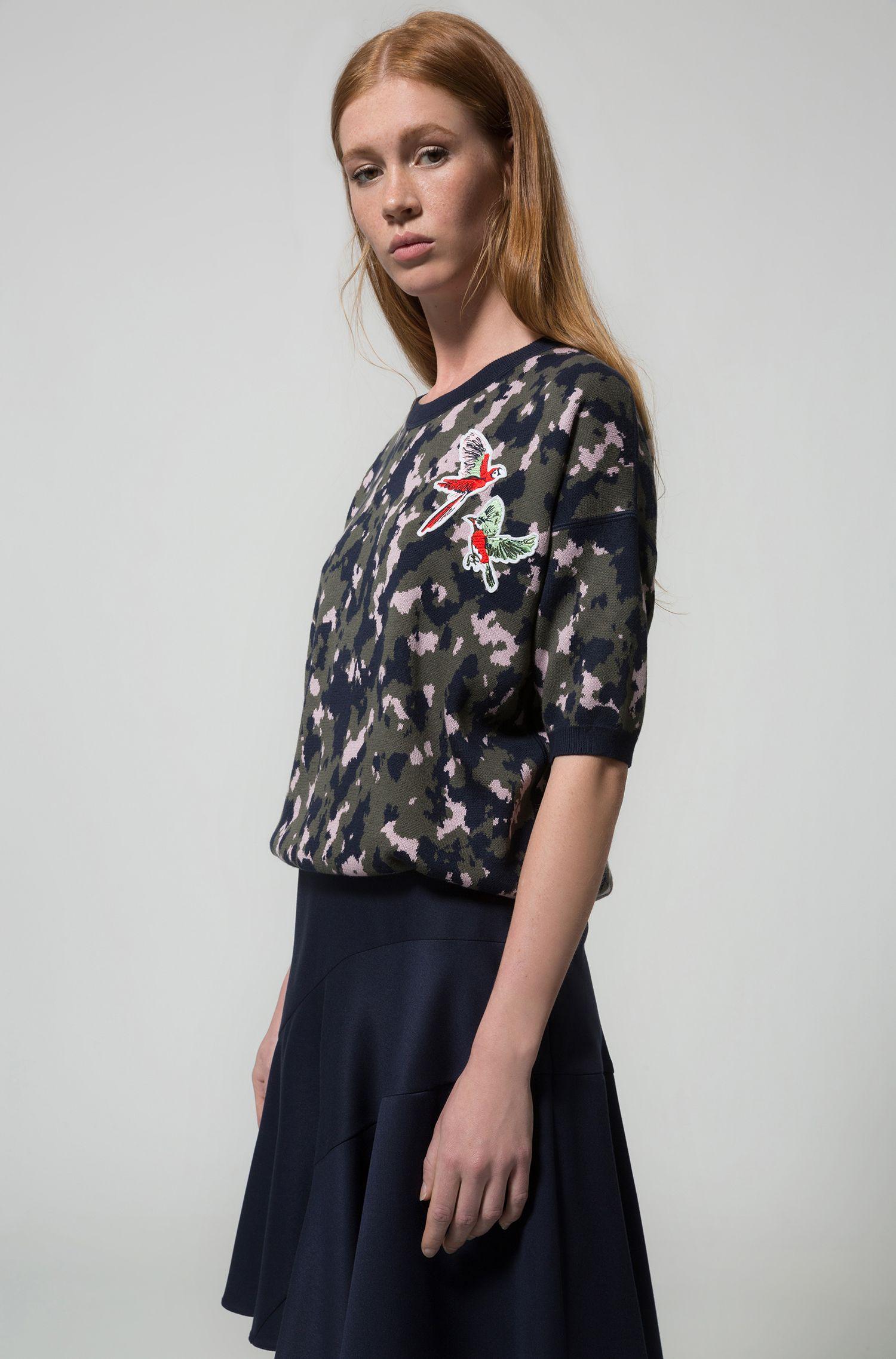 A-line skirt in lustrous stretch fabric, Dark Blue