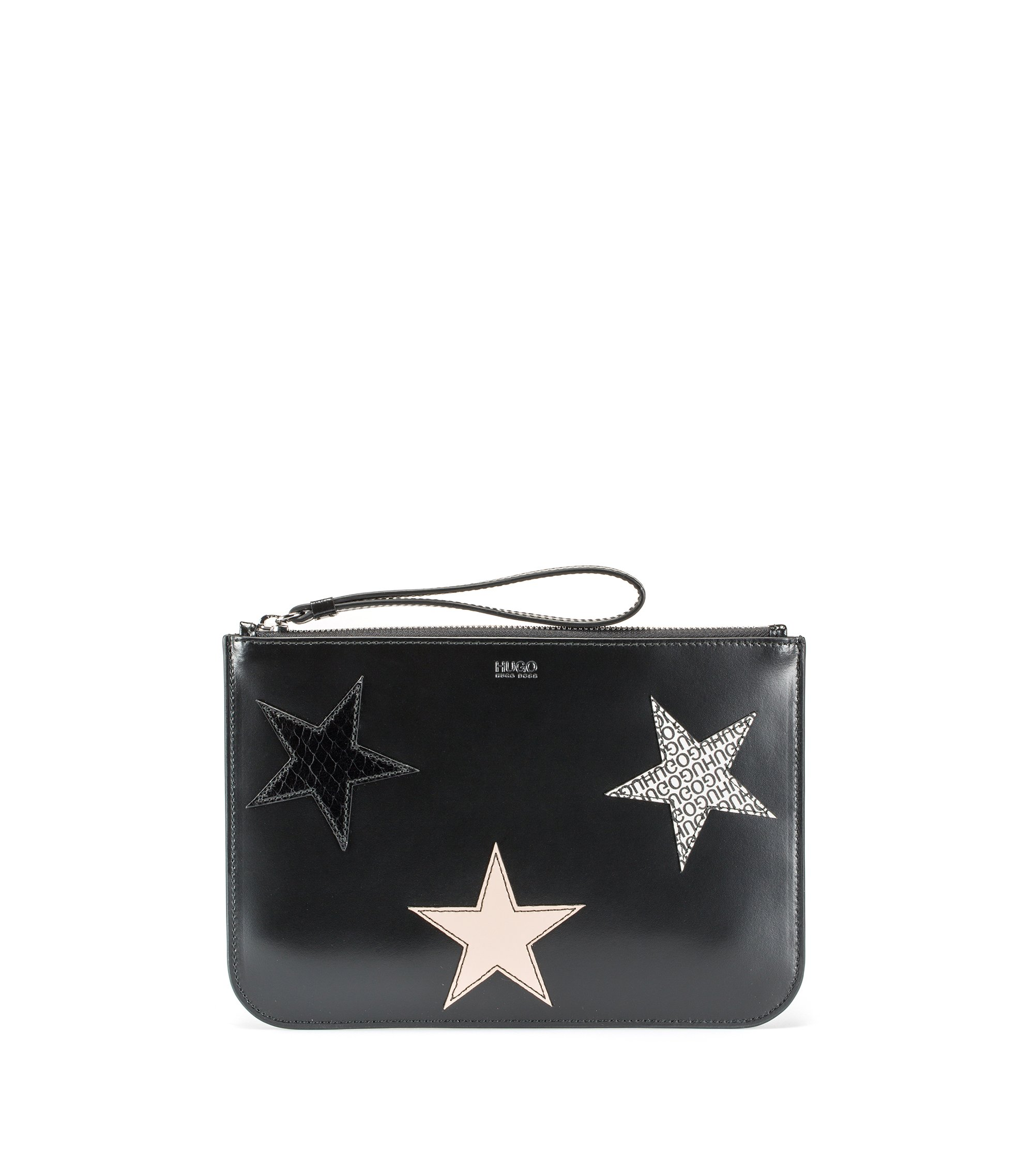 Leather clutch bag with calf-leather star appliqués, Schwarz