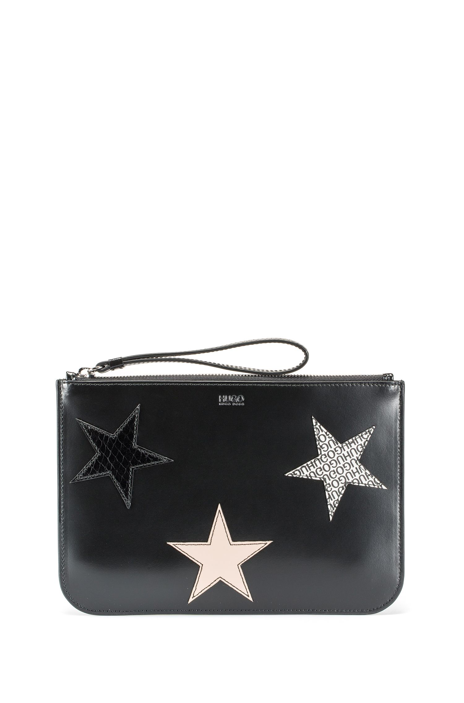 Leather clutch bag with calf-leather star appliqués, Black
