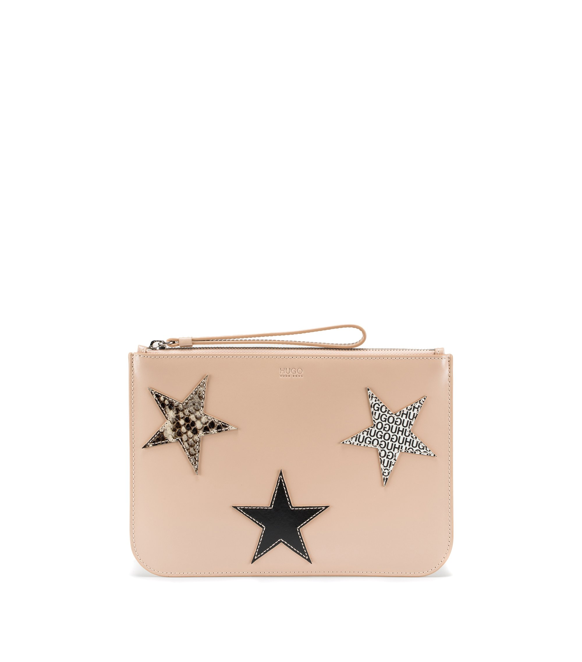 Leather clutch bag with calf-leather star appliqués, Hellbeige
