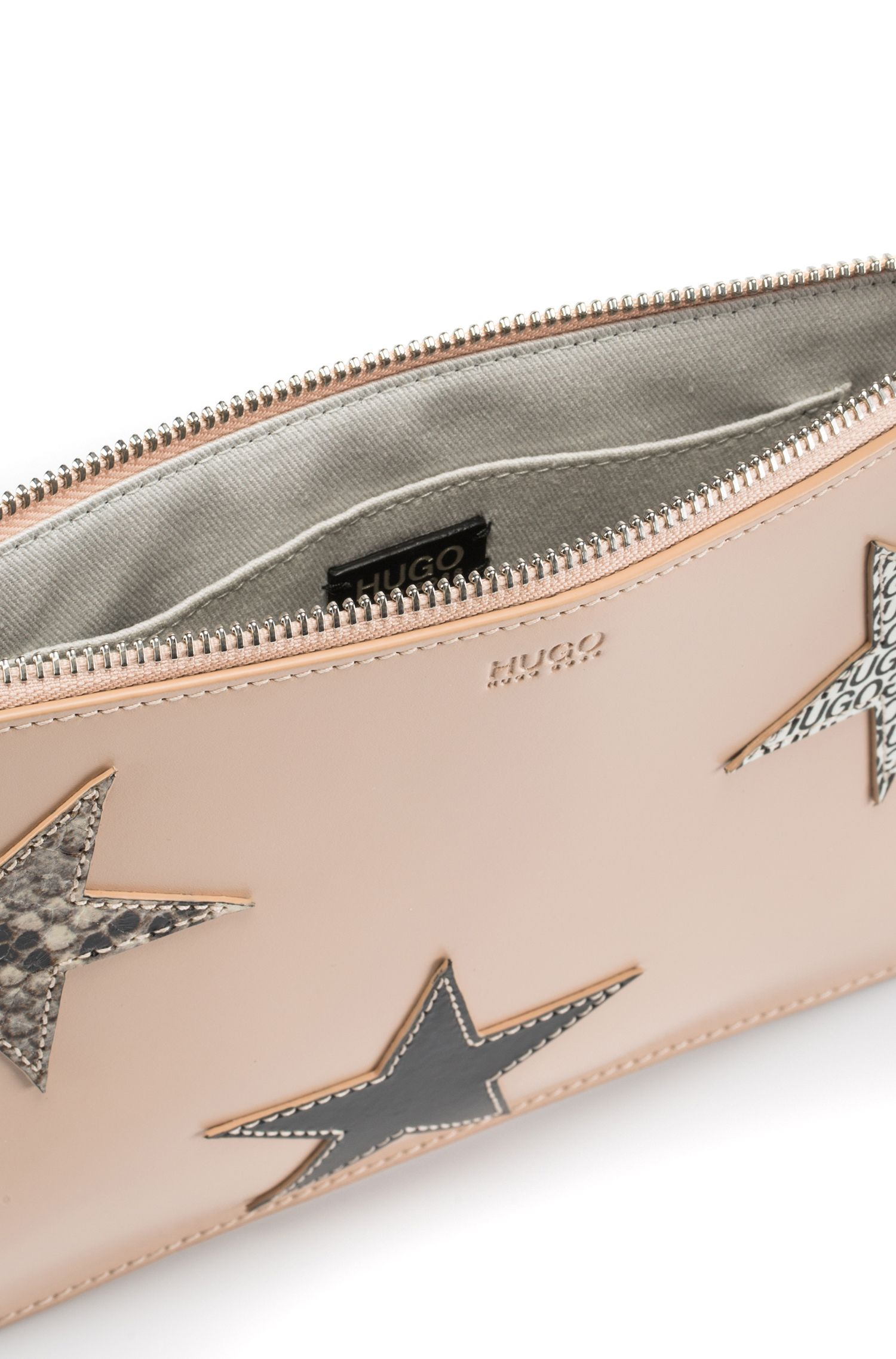 Leather clutch bag with calf-leather star appliqués, Light Beige