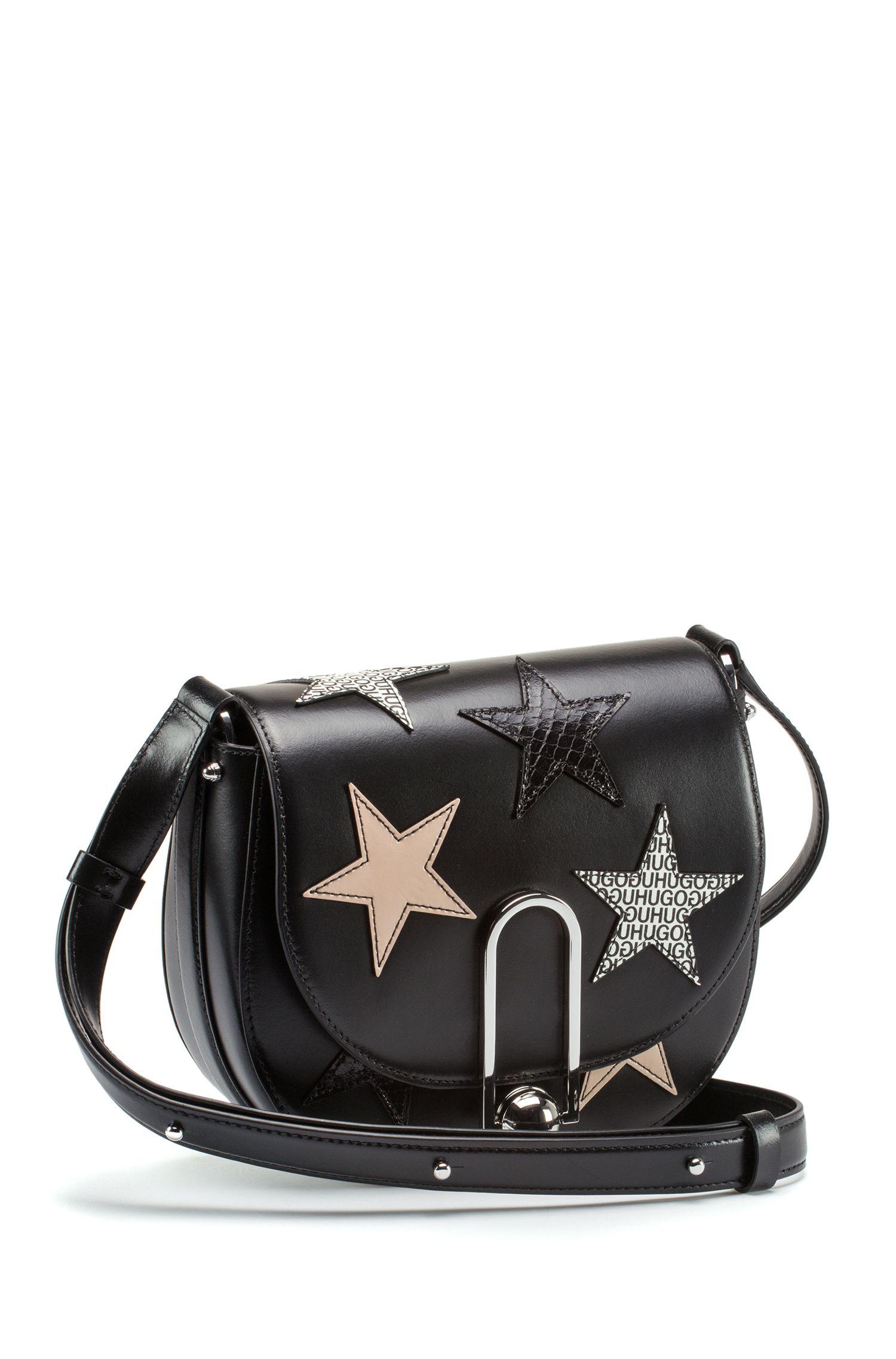 HUGO BOSS Sac à porter croisé en cuir enduit avec motif étoiles