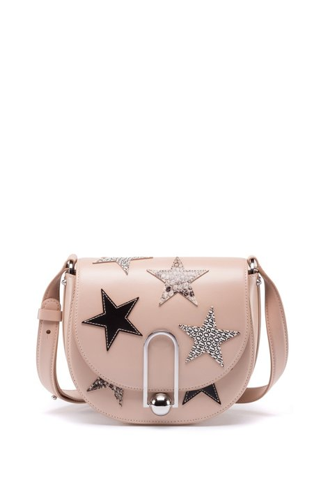 Cross-body bag in coated leather with star motifs, Light Beige