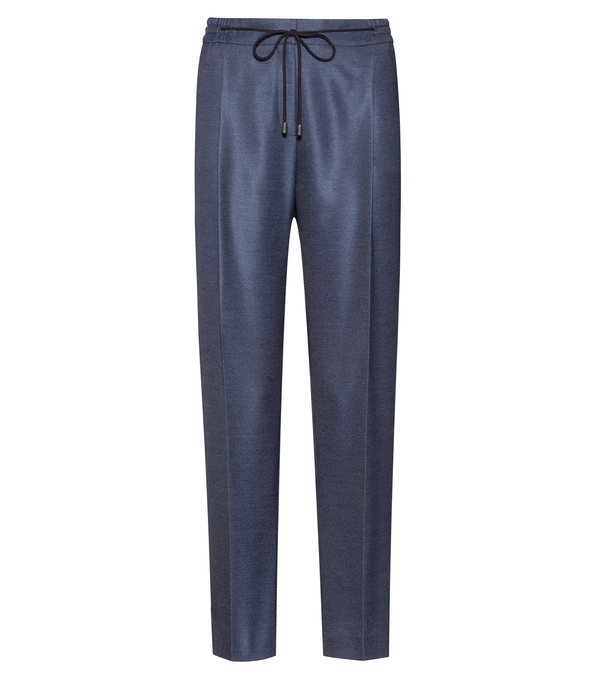 Pantalones relaxed fit en tejido elástico con cintura con cordón, Azul oscuro