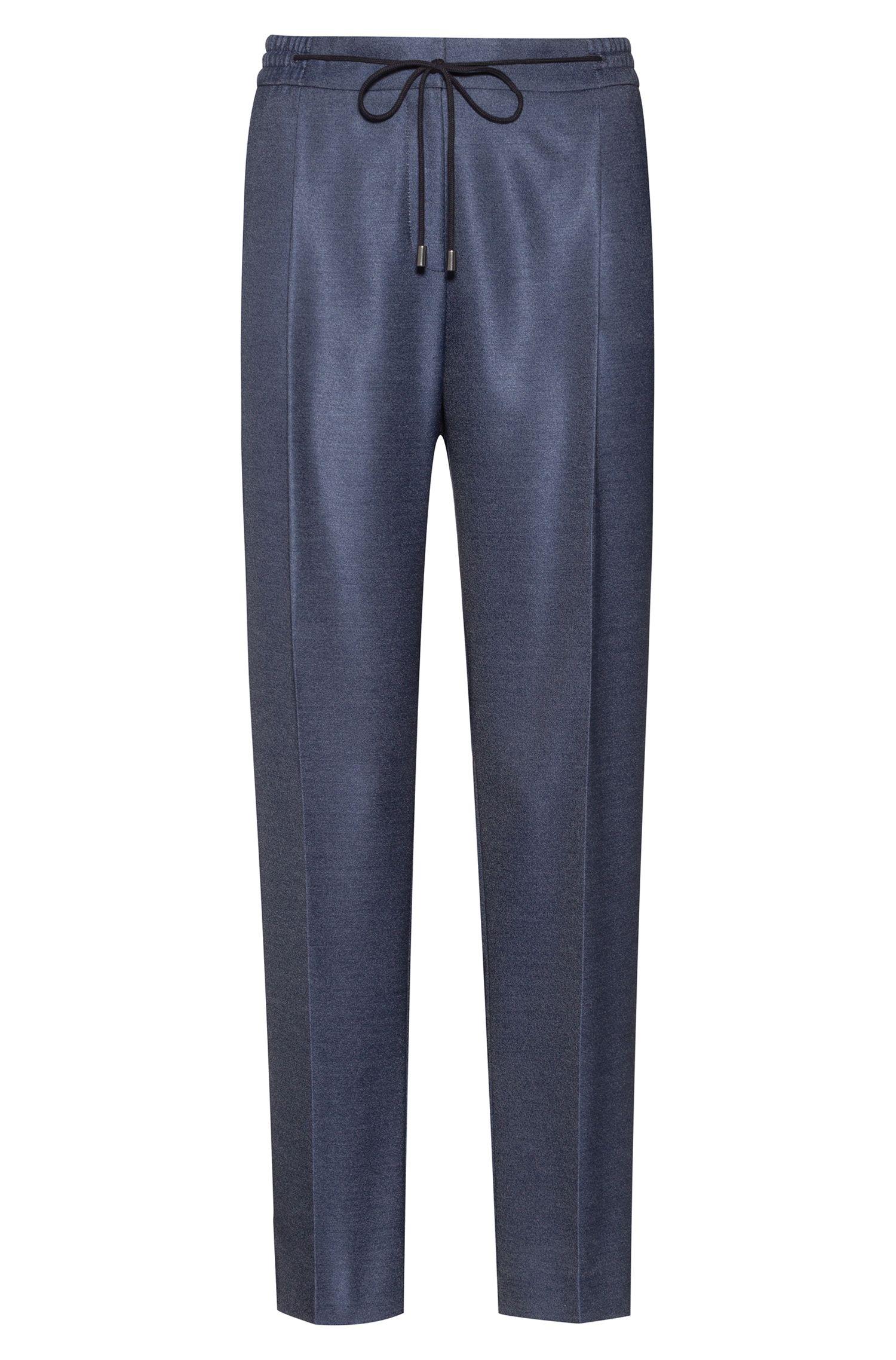 Relaxed-fit broek van stretchmateriaal met tailleband met trekkoord, Donkerblauw
