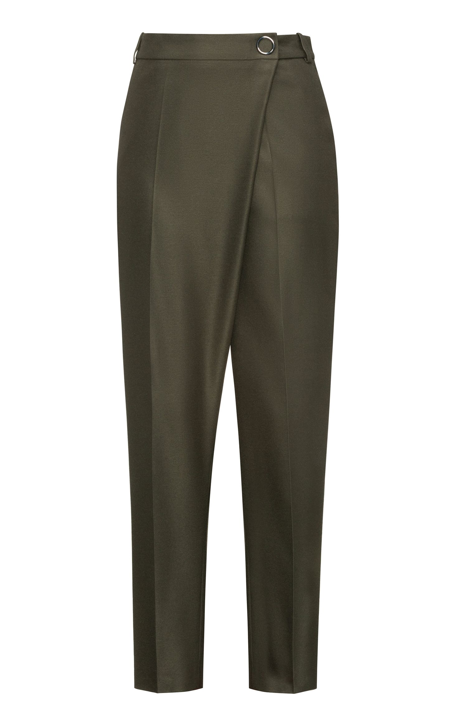 Relaxed-fit wrapped trousers in stretch fabric, Green