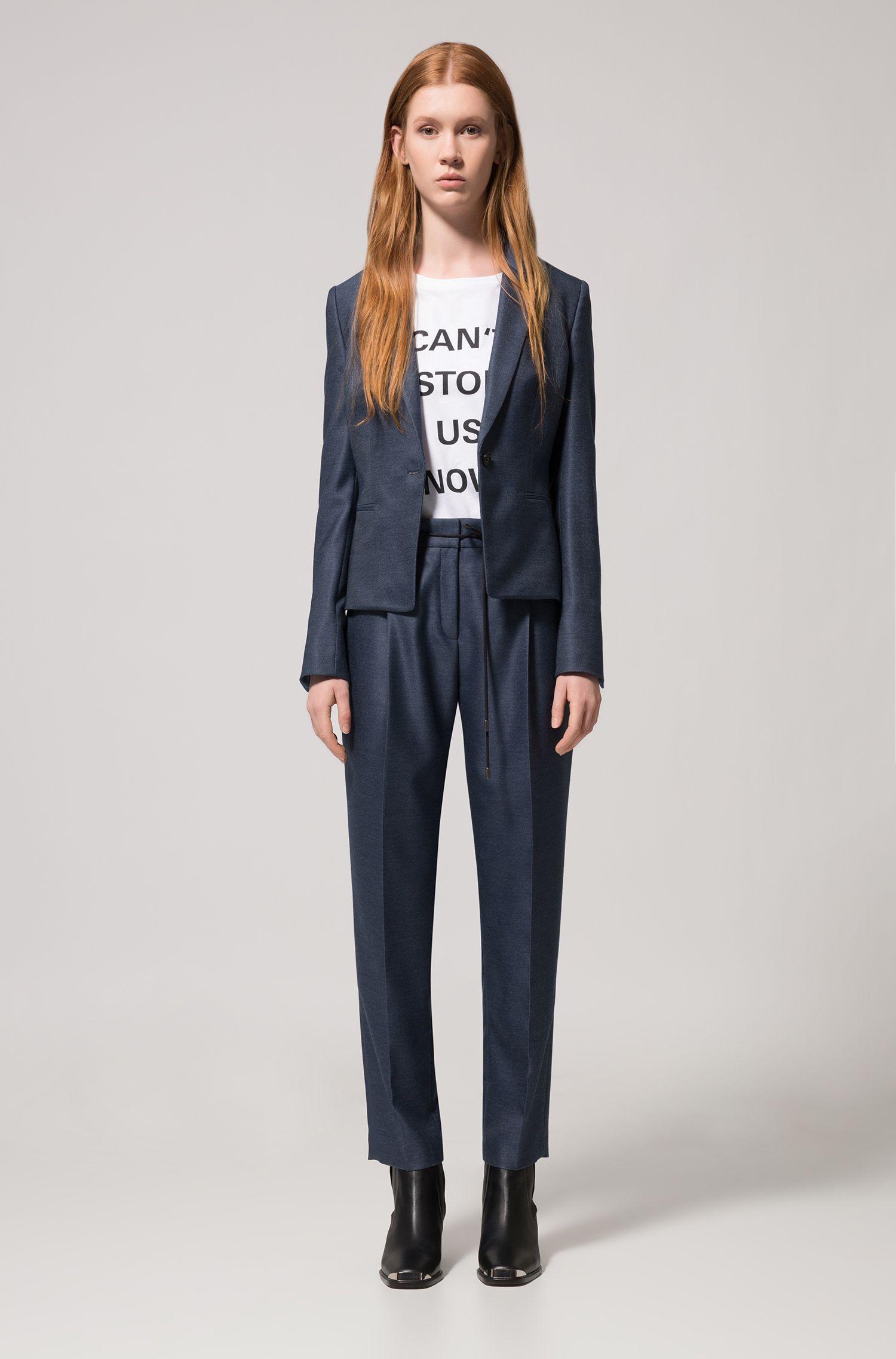 Slim-fit blazer in lustrous stretch fabric, Dark Blue
