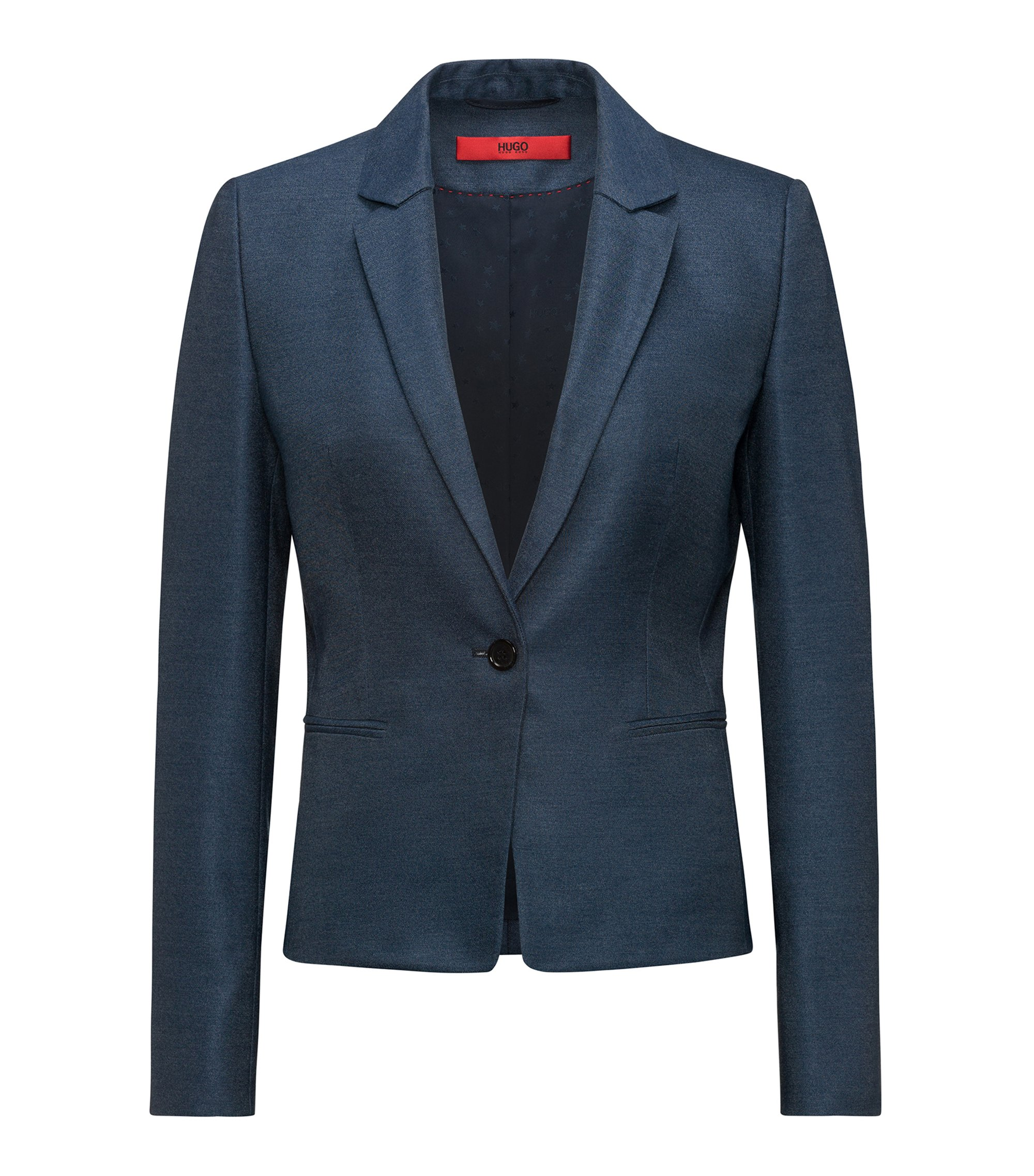 Slim-fit blazer in lustrous stretch fabric, Dark Blue