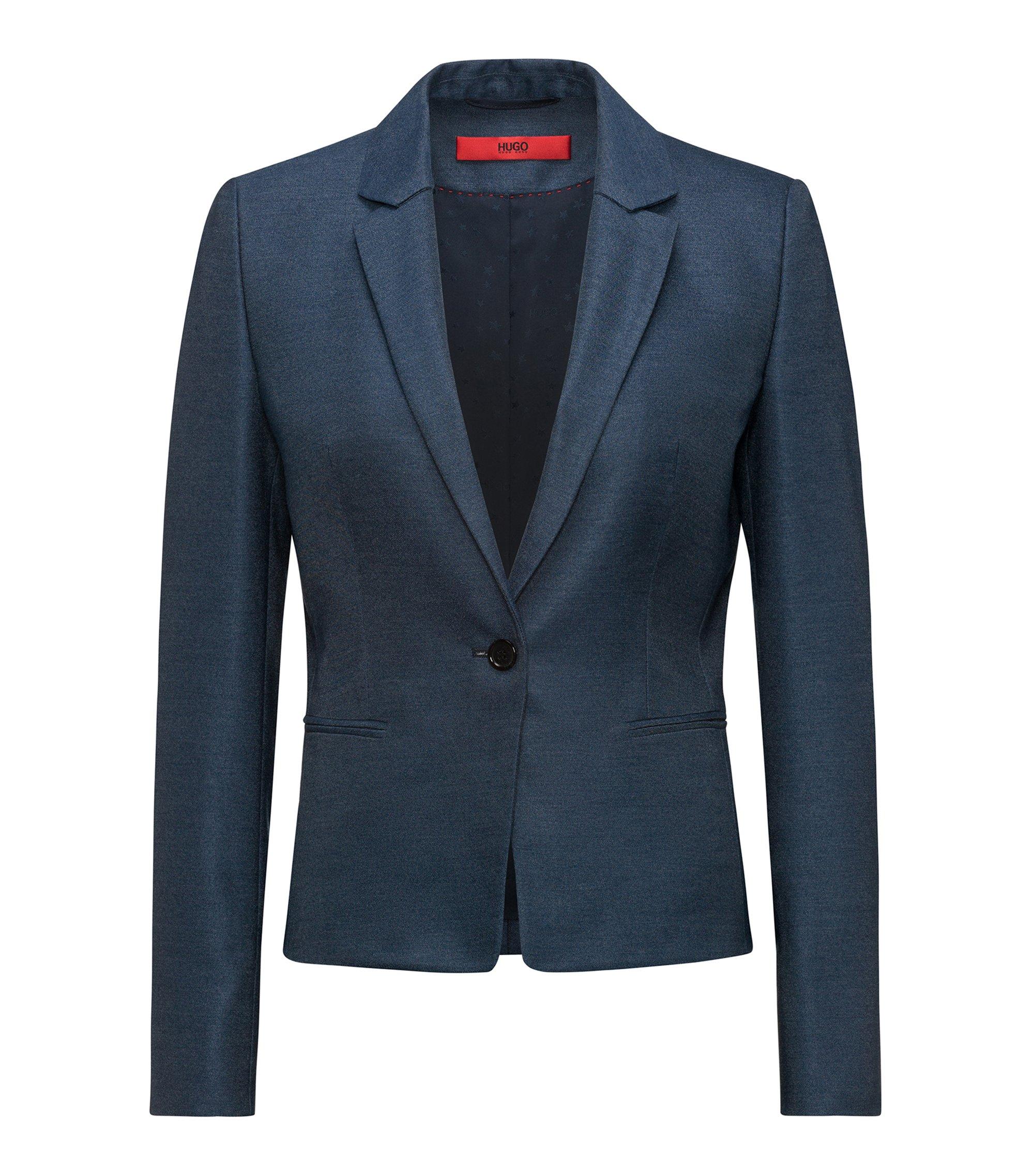 Blazer Slim Fit en tissu stretch légèrement brillant, Bleu foncé