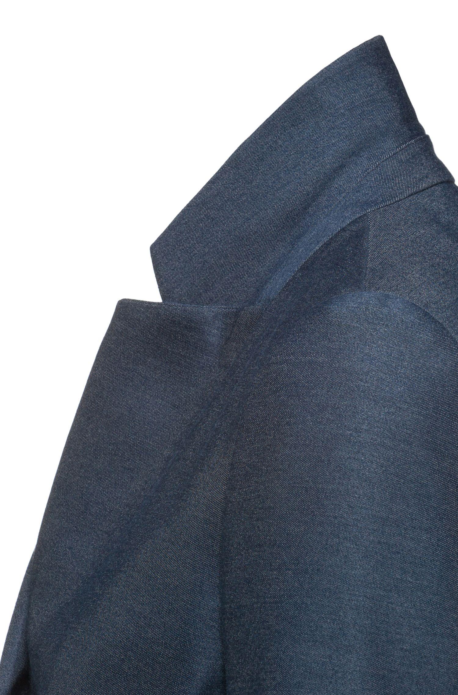 Slim-Fit Blazer aus schimmerndem Stretch-Gewebe, Dunkelblau