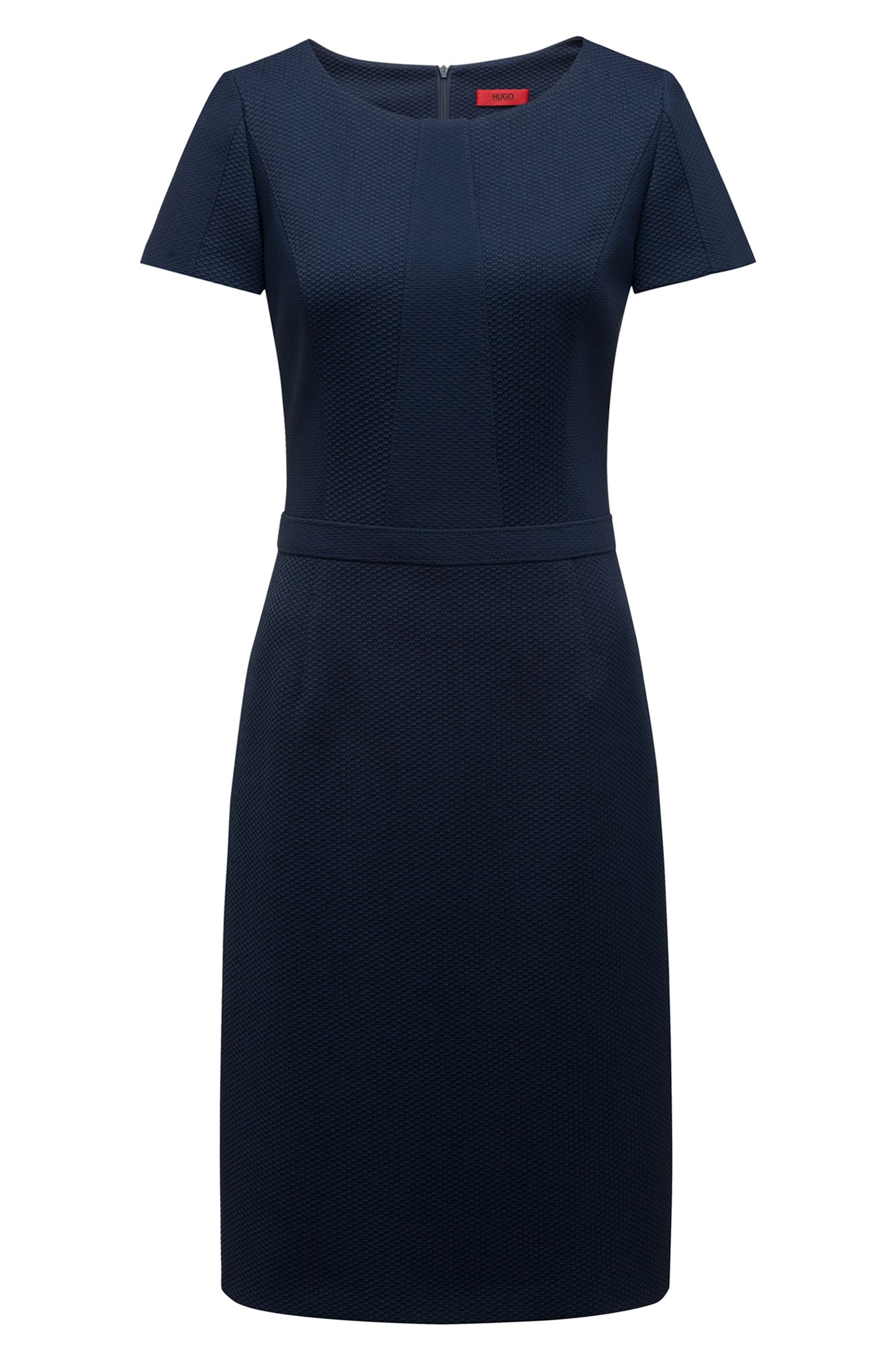 Short-sleeved dress in panelled stretch fabric, Dark Blue