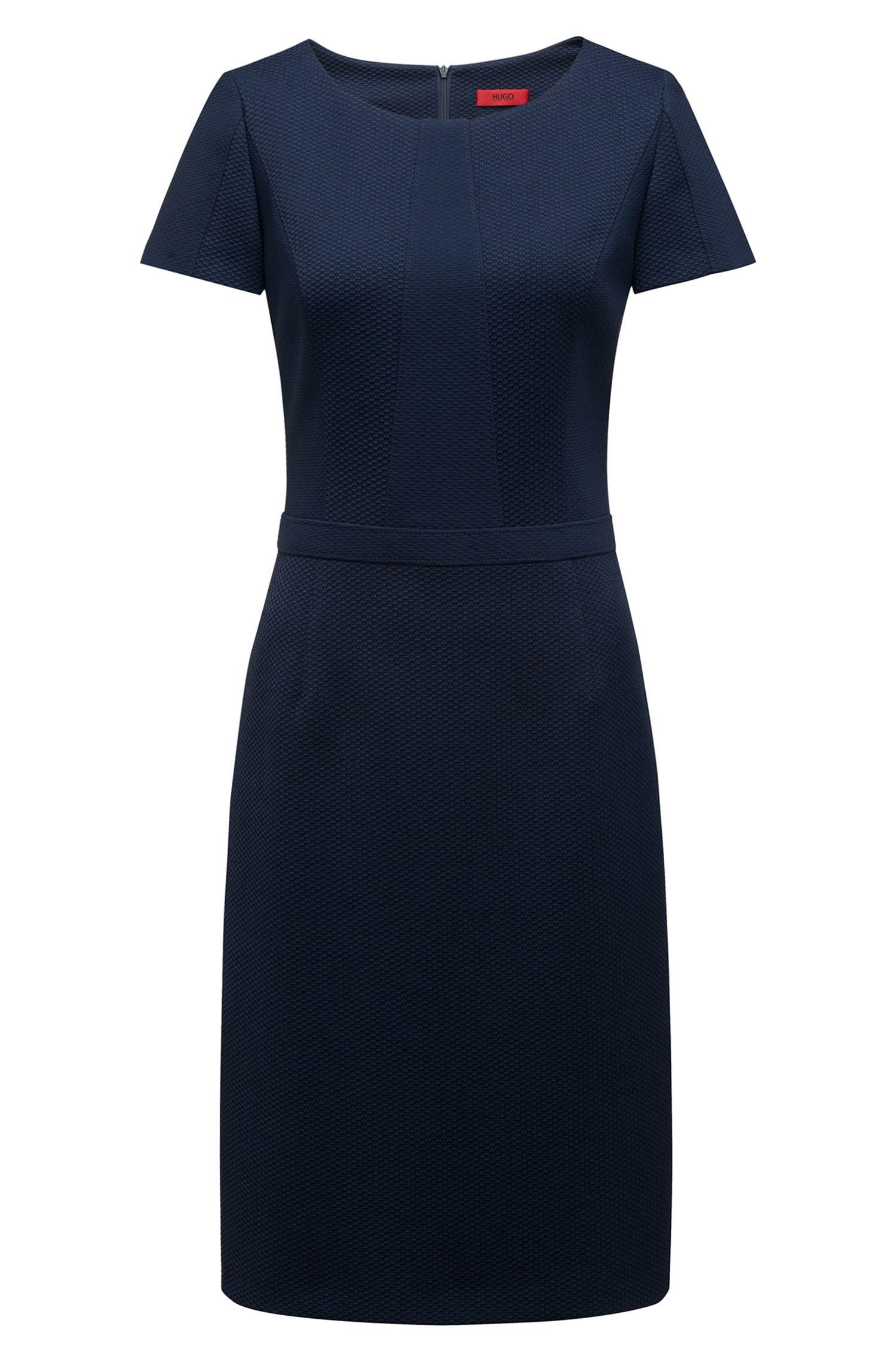 Vestido de manga corta en tejido elástico con paneles, Azul oscuro