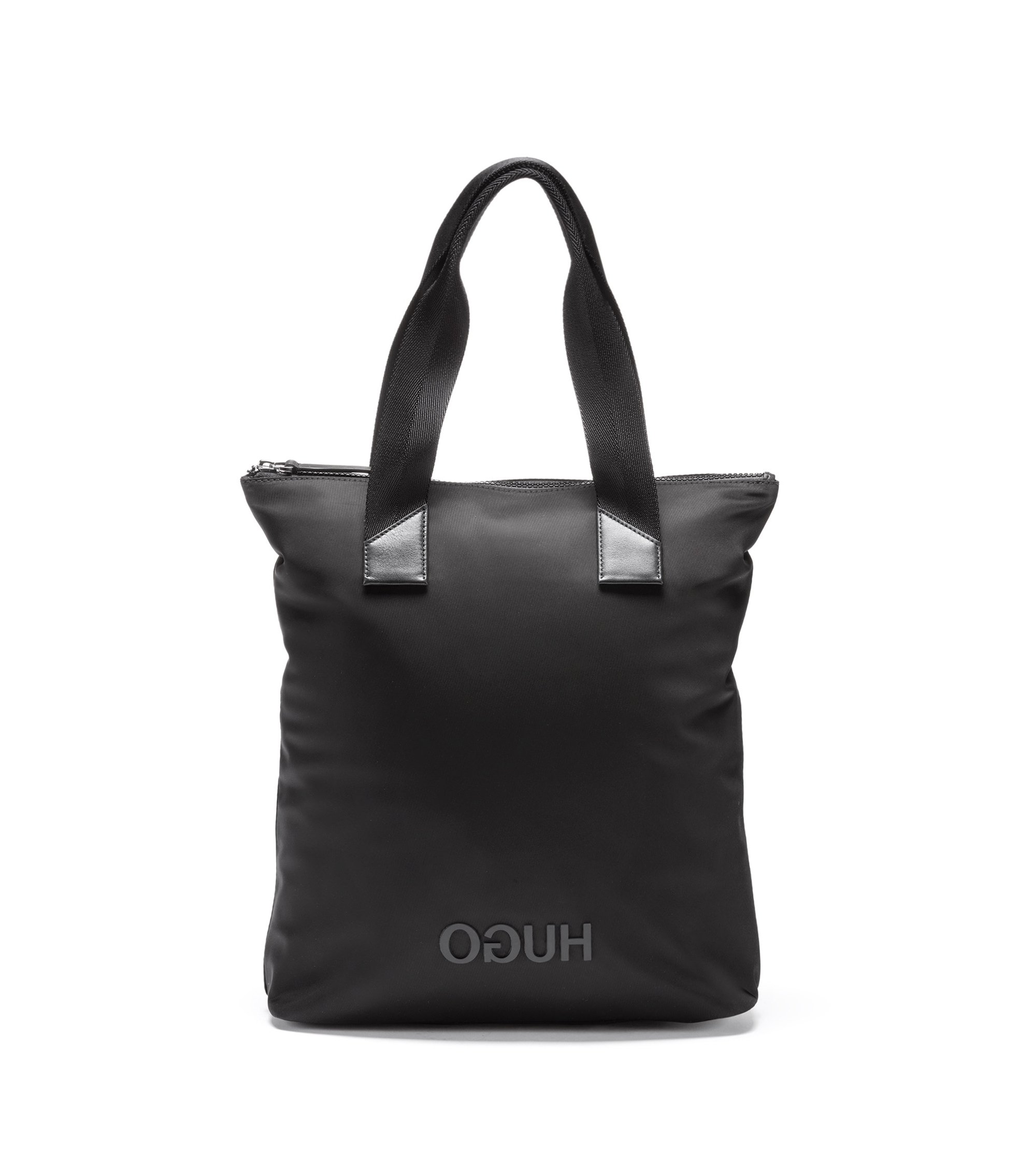 Reversed-logo shopper bag in nylon gabardine, Black