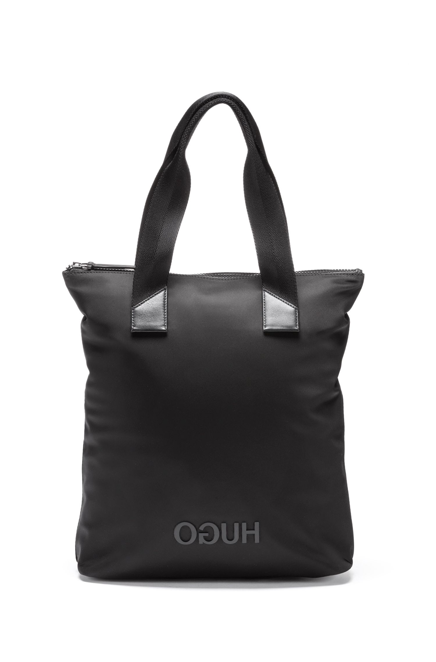 Shopper in een gabardine van technisch materiaal met gespiegeld logo, Zwart
