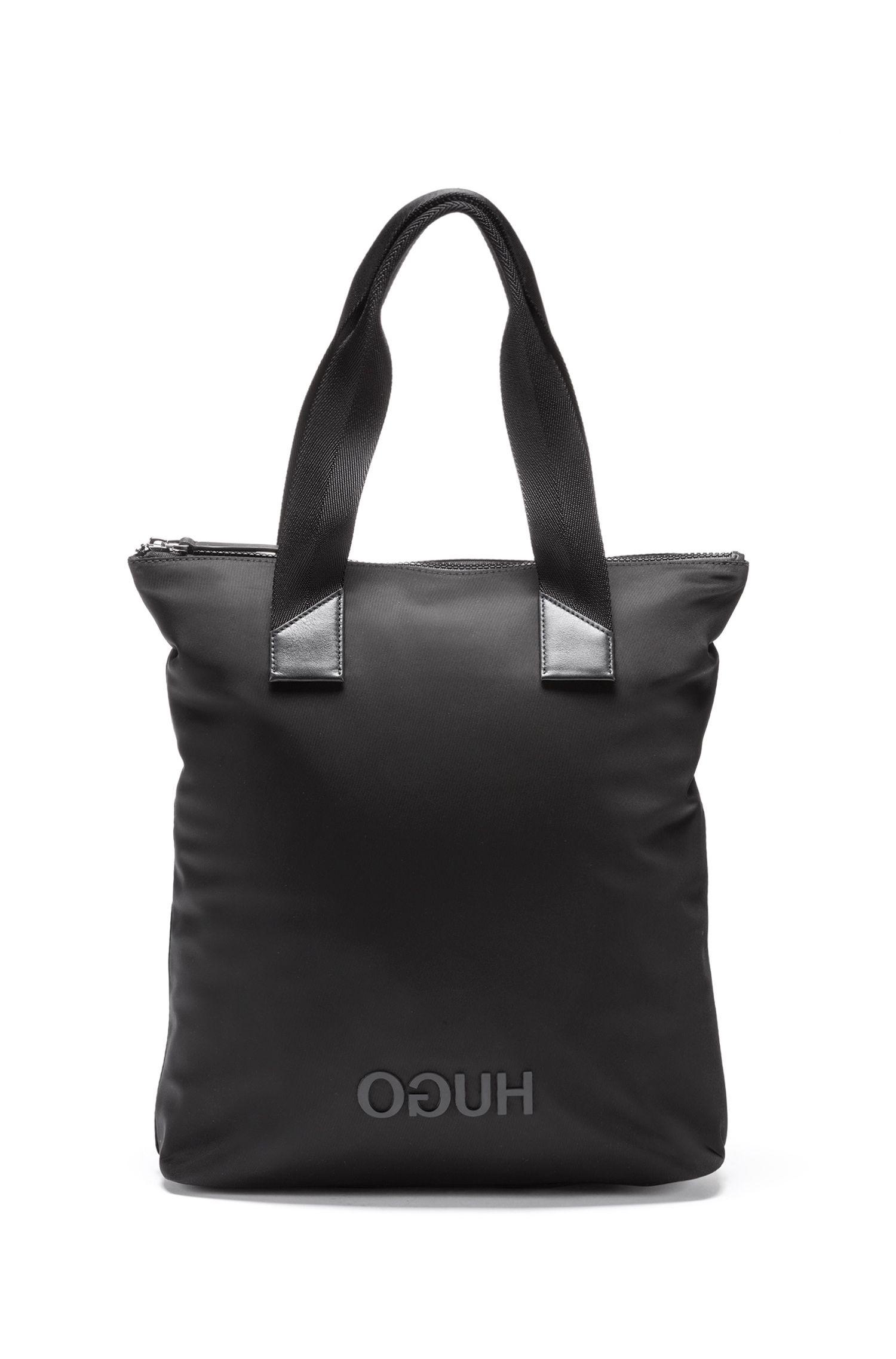 Shopper aus Nylon-Gabardine mit Reversed-Logo, Schwarz