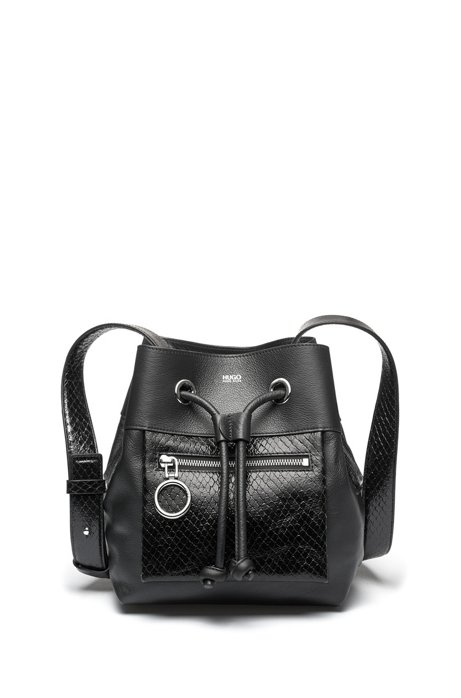 Calf-leather bucket bag with snake-effect detailing, Black