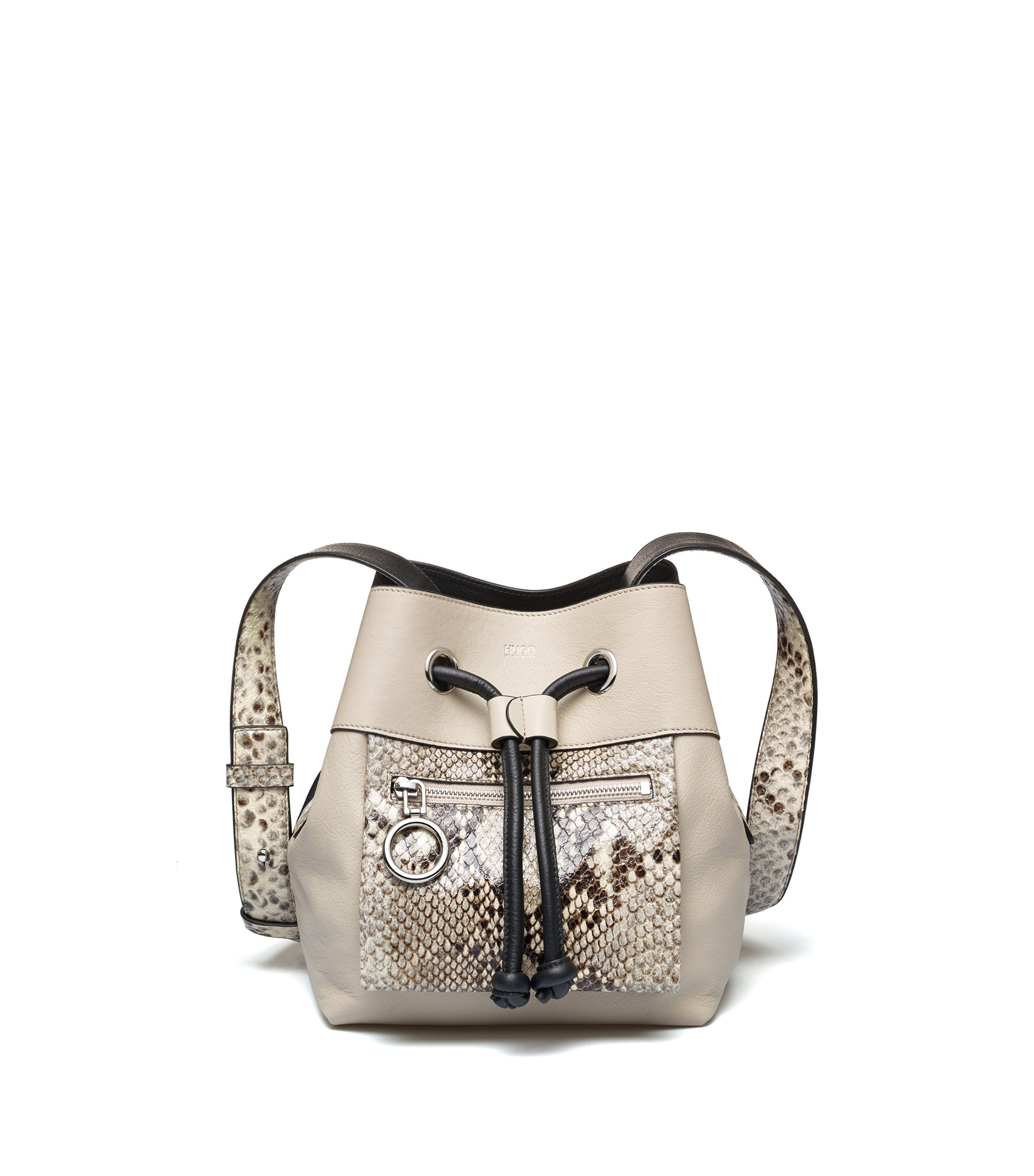 Calf-leather bucket bag with snake-effect detailing, Light Beige
