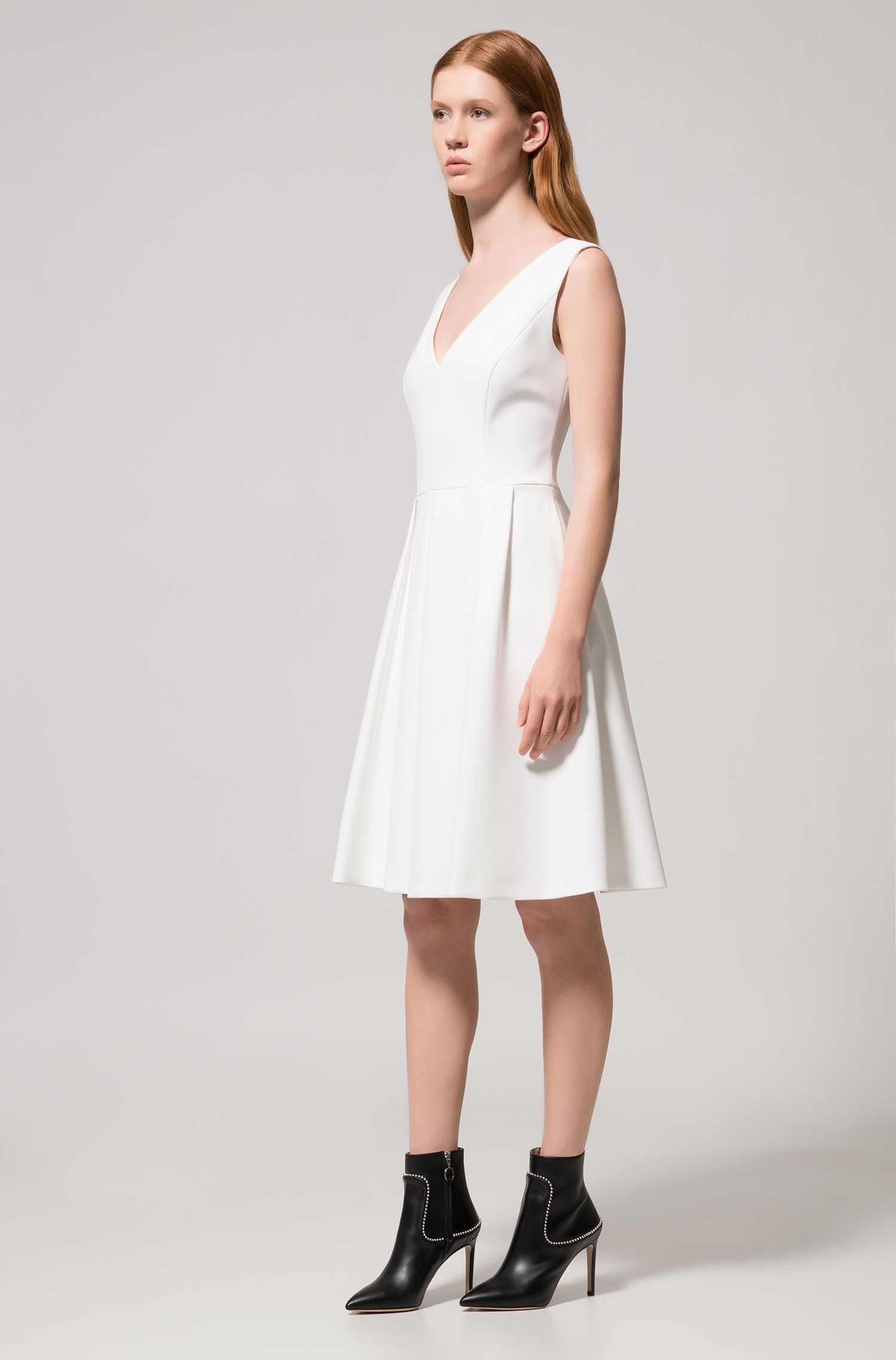 Sleeveless stretch-fabric dress with deep V neckline, Natural
