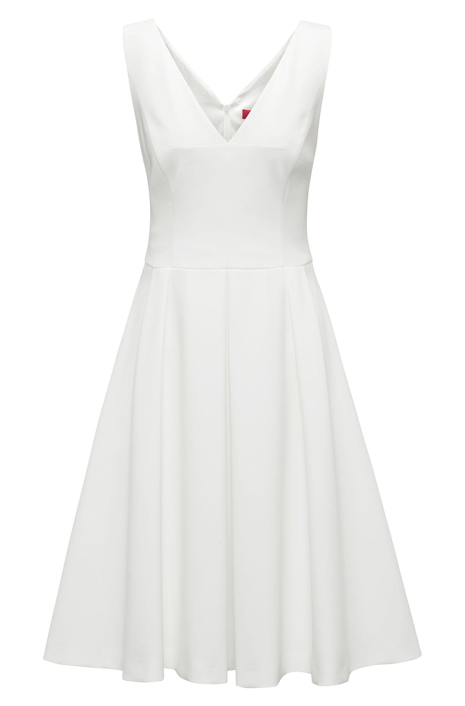 Ärmelloses Kleid aus Stretch-Gewebe mit tiefem V-Ausschnitt, Natur