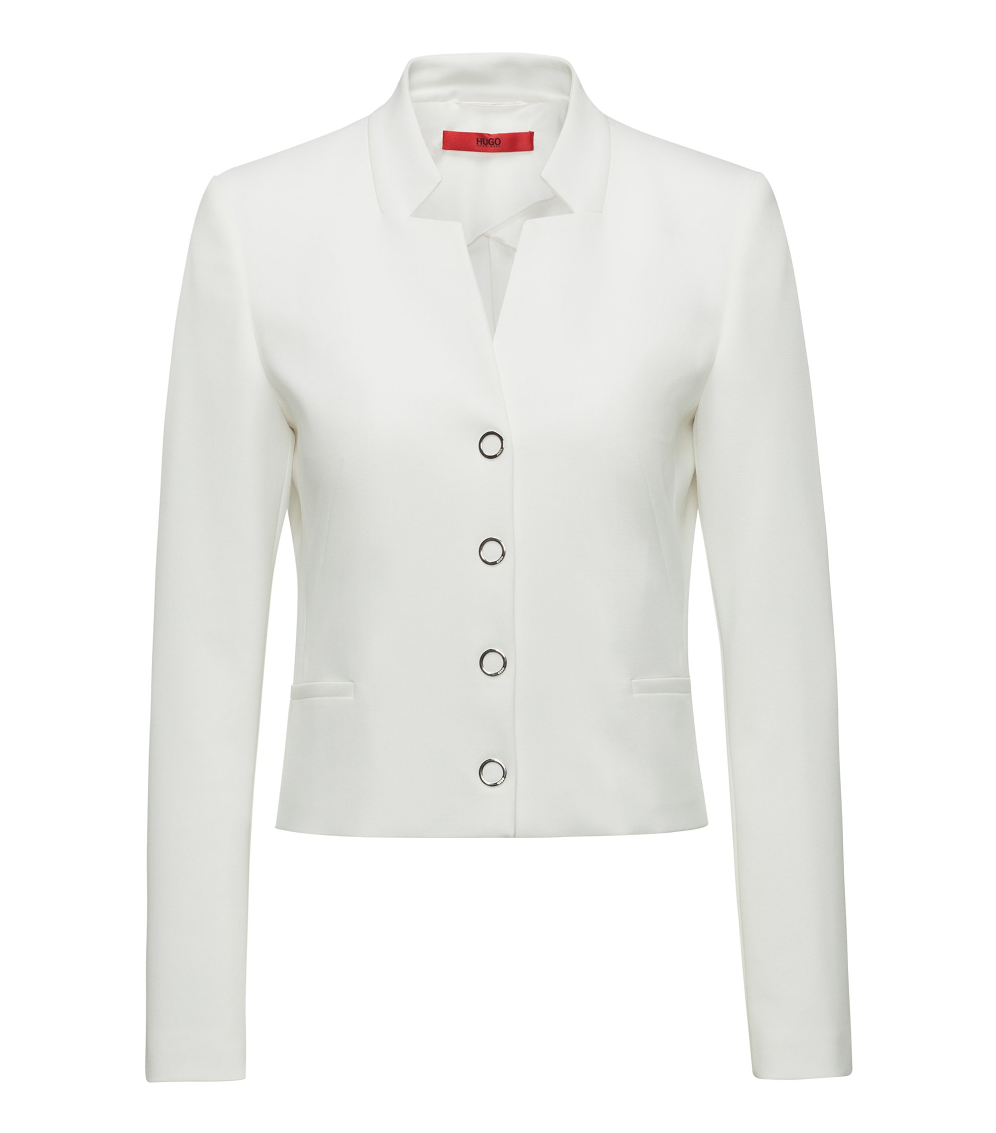 Regular-fit cropped jacket with stand collar, Natural