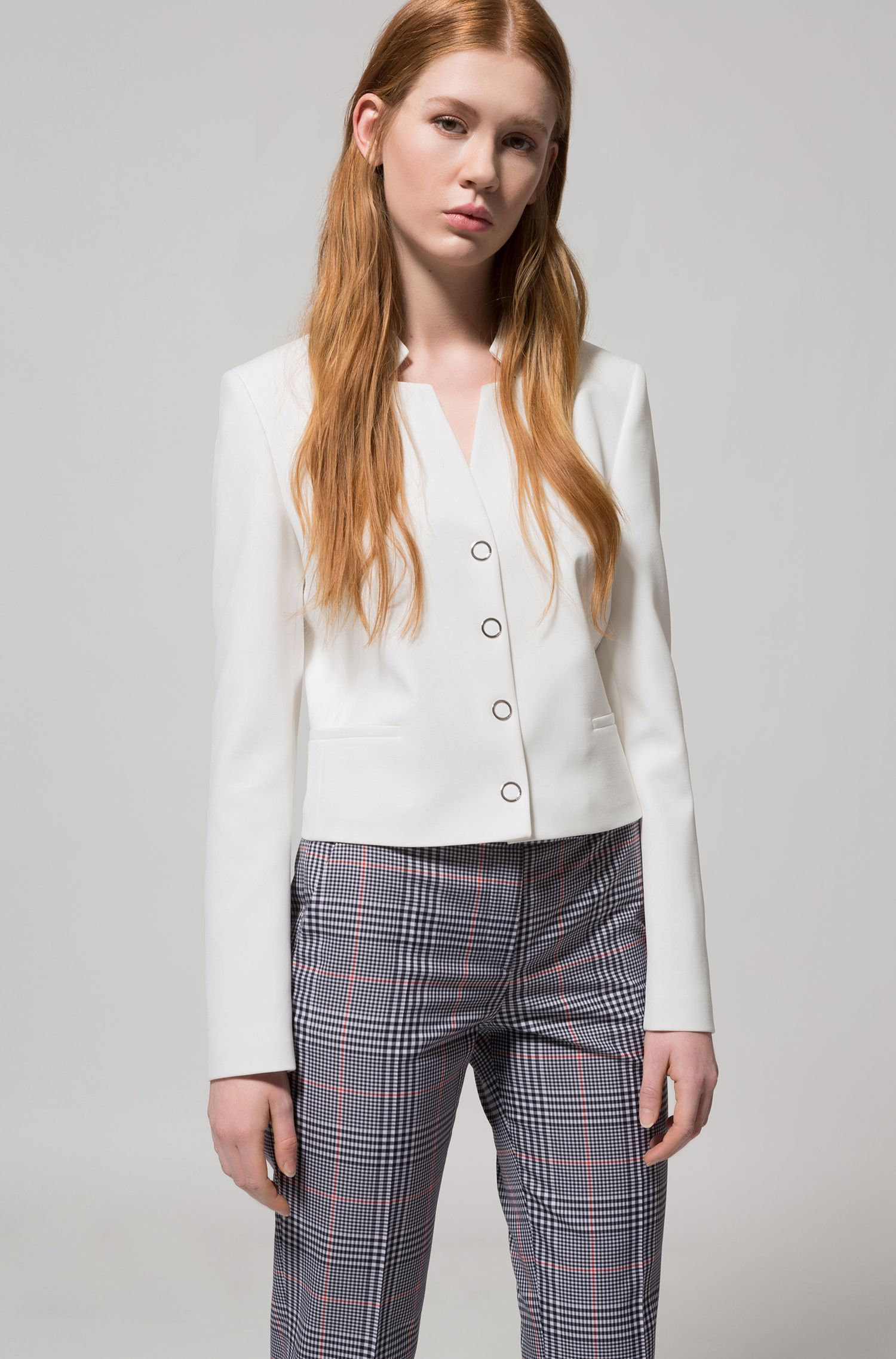 Hugo Boss - Regular-fit cropped jacket with stand collar - 3
