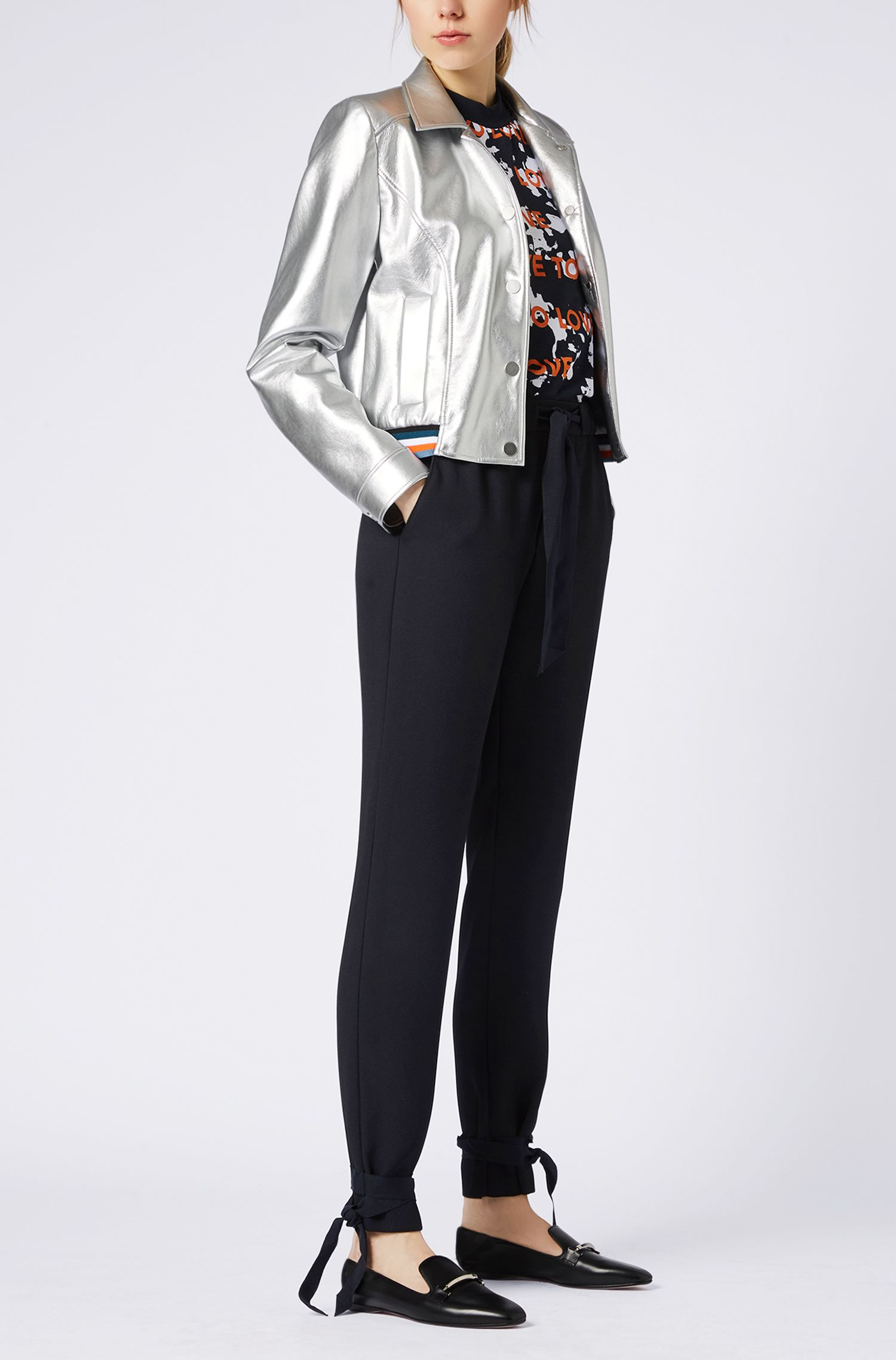 Regular-fit crepe trousers with belted hems