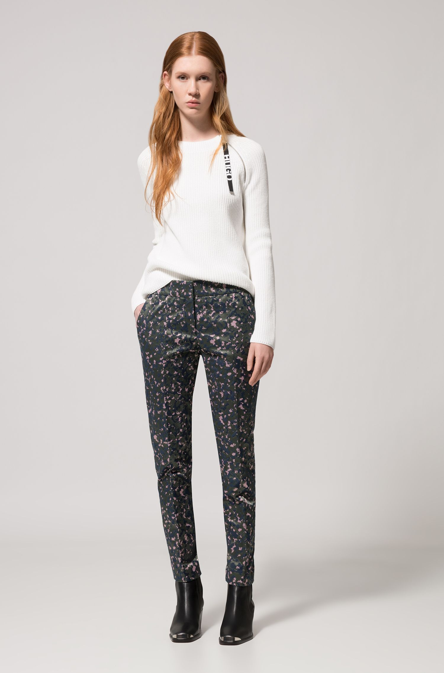 Slim-fit cigarette trousers in camouflage stretch-cotton jacquard