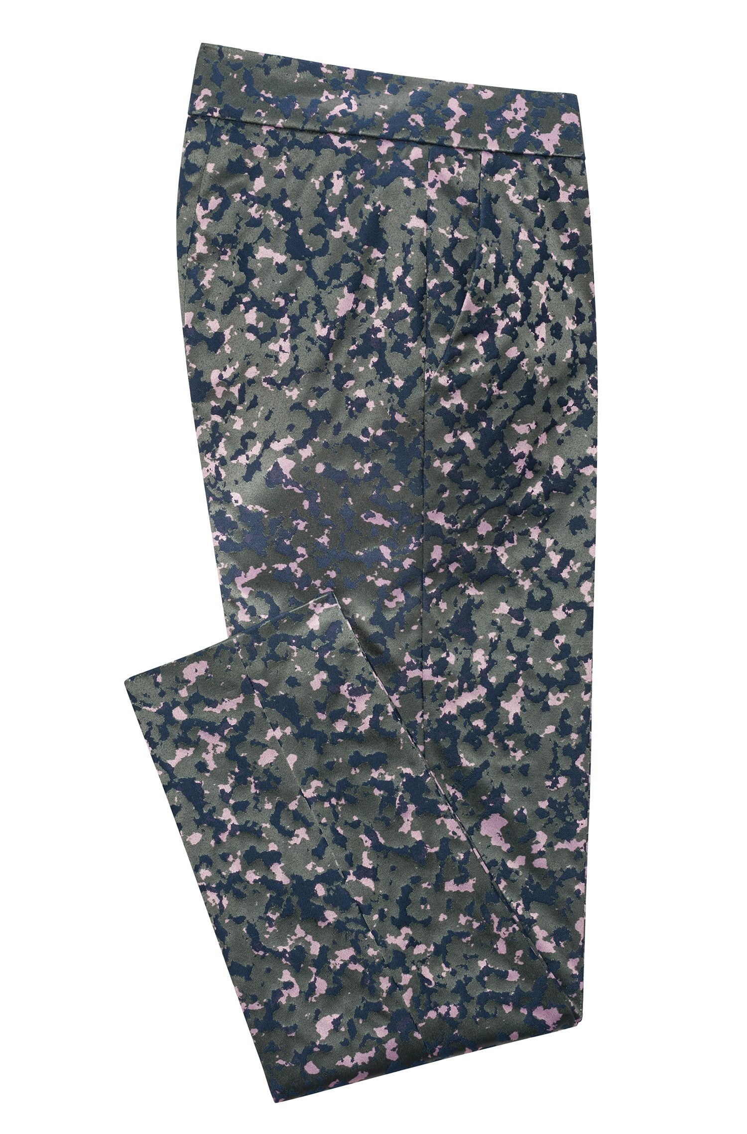 Slim-fit cigarette trousers in camouflage stretch-cotton jacquard, Patterned