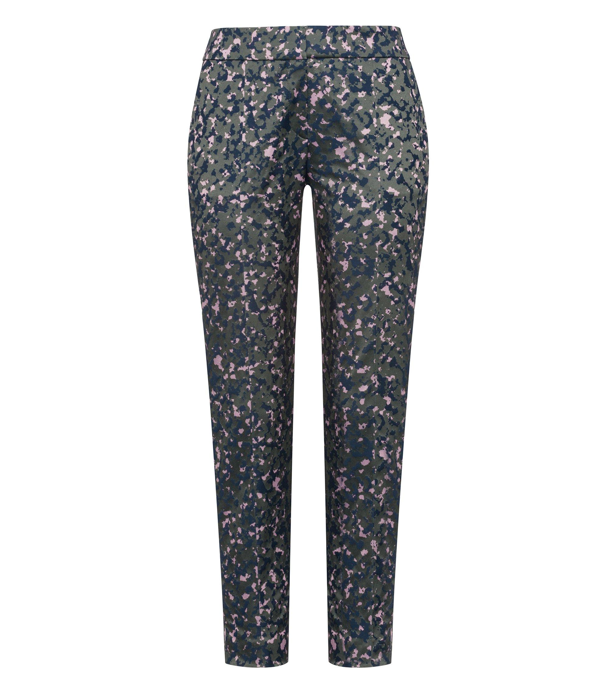 Pantalon cigarette Slim Fit en jacquard de coton stretch à imprimé camouflage, Fantaisie