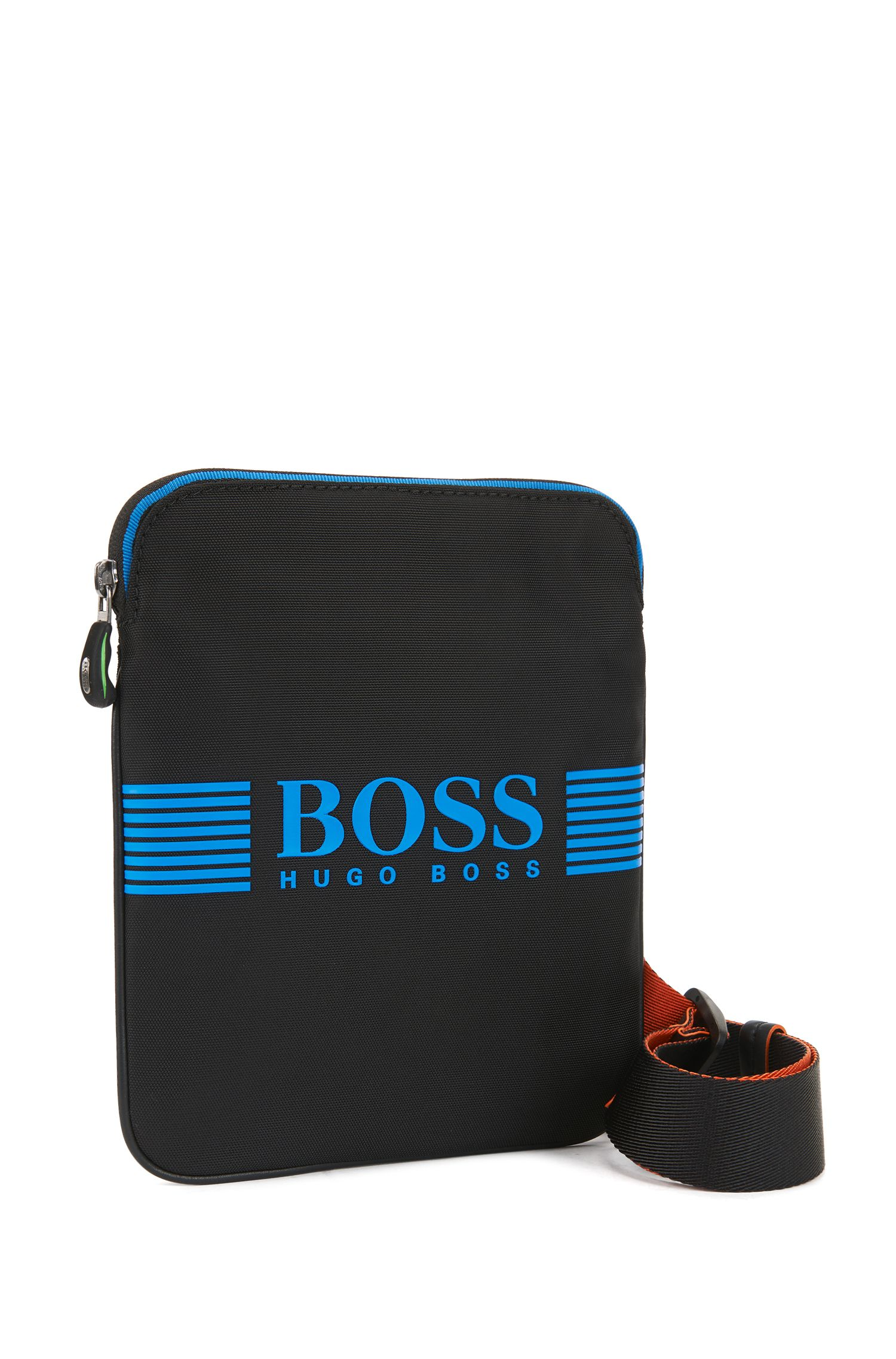 Envelope bag with rubberised logo and waterproof zip, Black