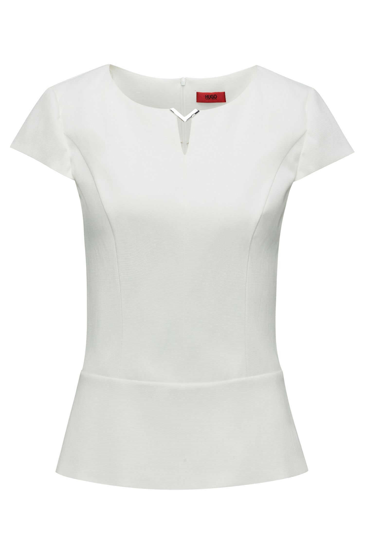 Peplum top in stretch-cotton blend with metal trim, Natural