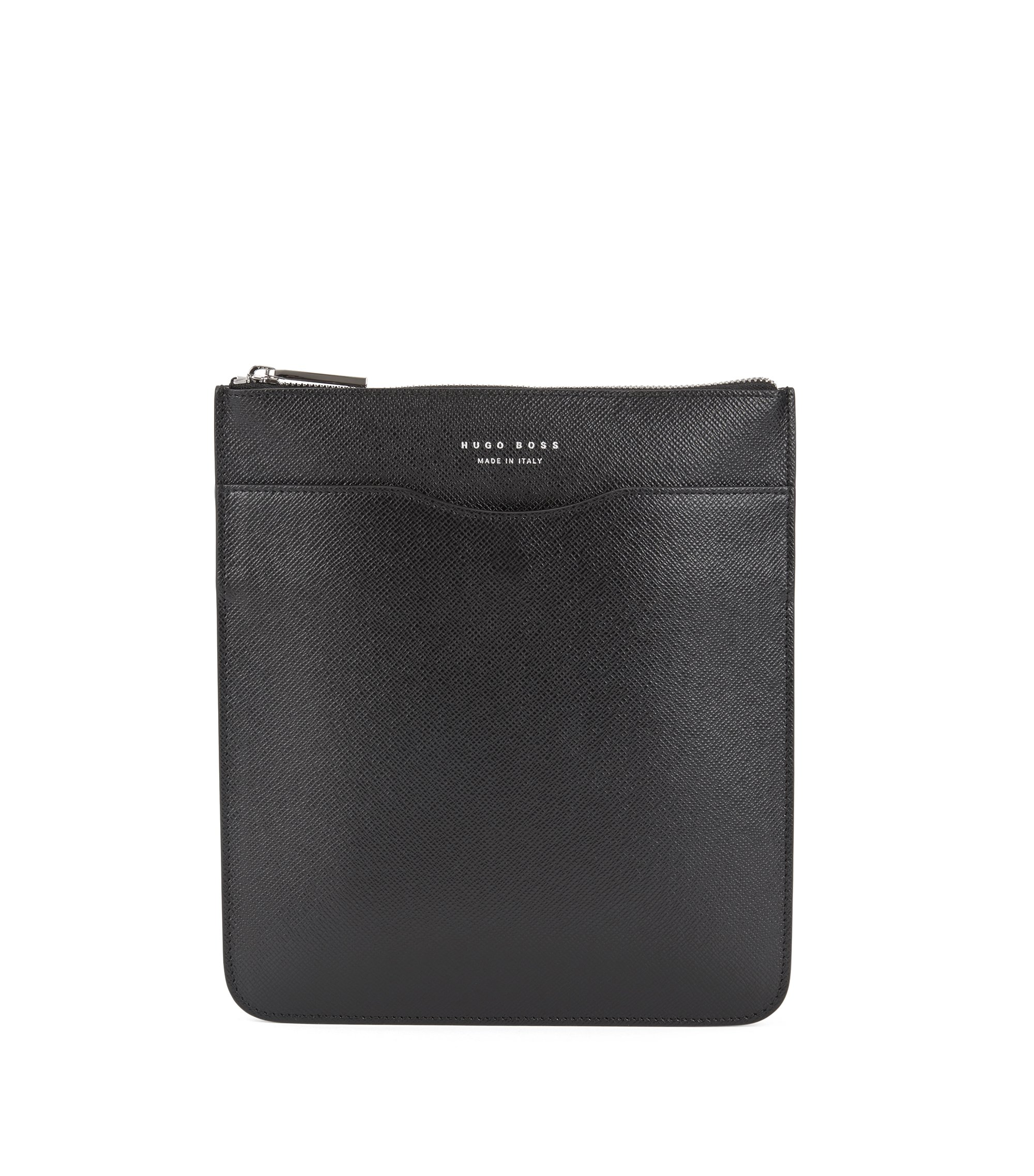 Signature Collection envelope bag in printed Italian calf leather, Black