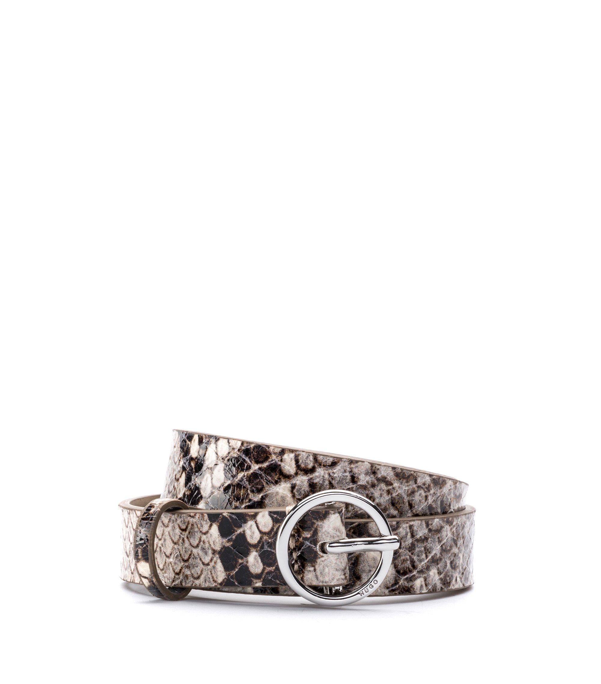 Snakeskin-effect belt in calf leather, Patterned