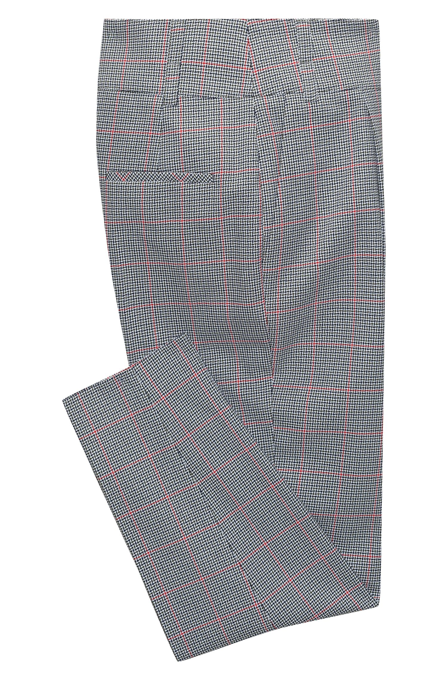 Tapered-leg cotton trousers with zigzag check