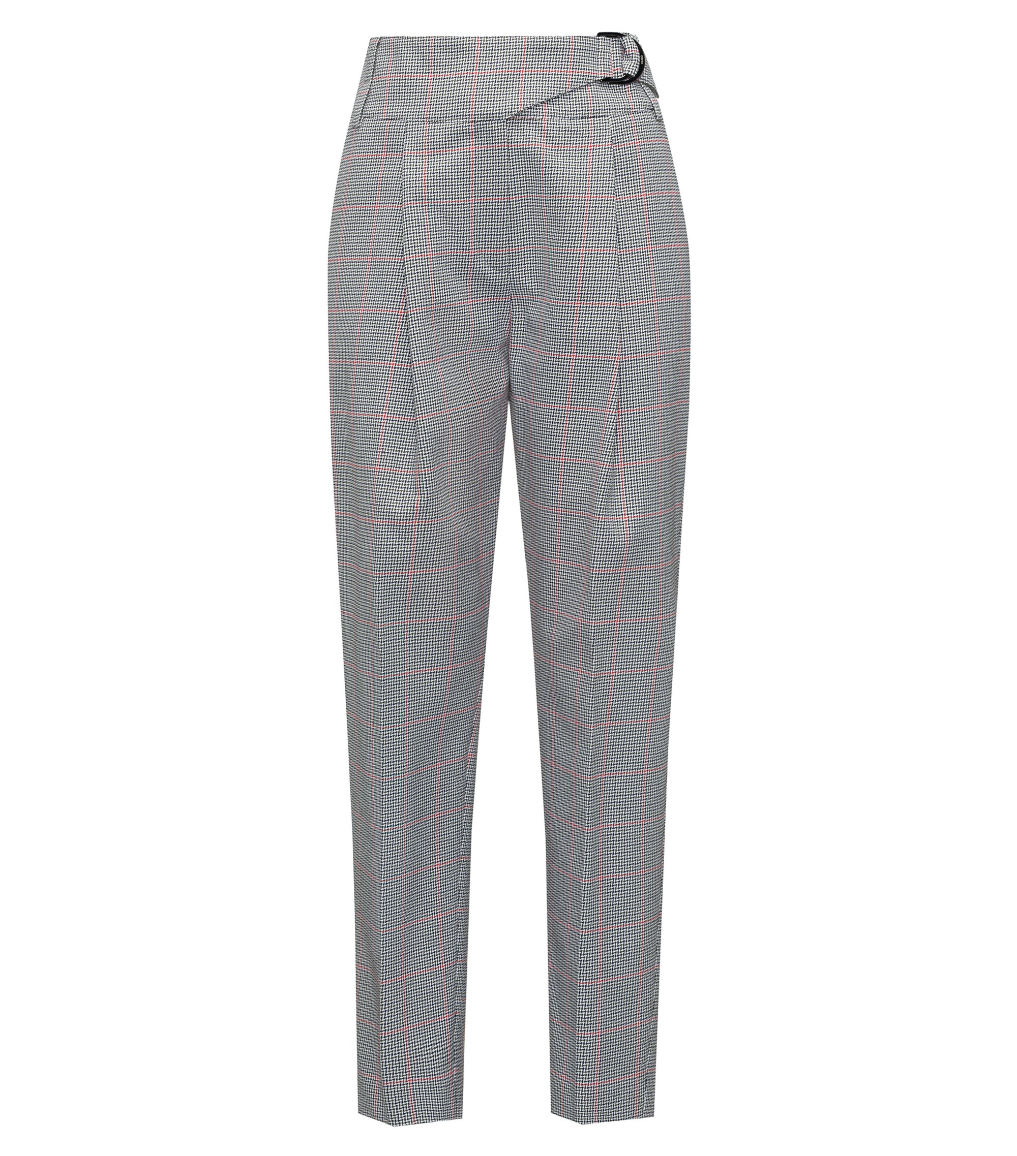 Tapered-leg cotton trousers with zigzag check, Patterned