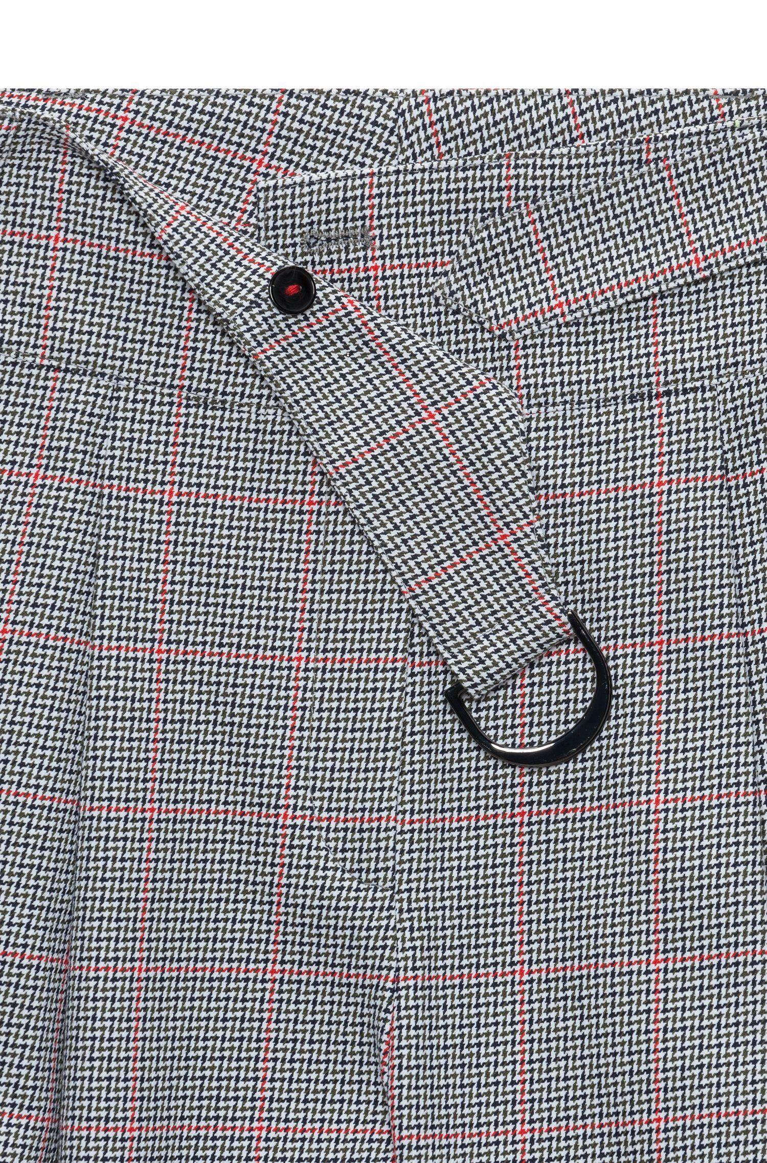 Pantalones de algodón con corte de pernera cónico y cuadros en zigzag