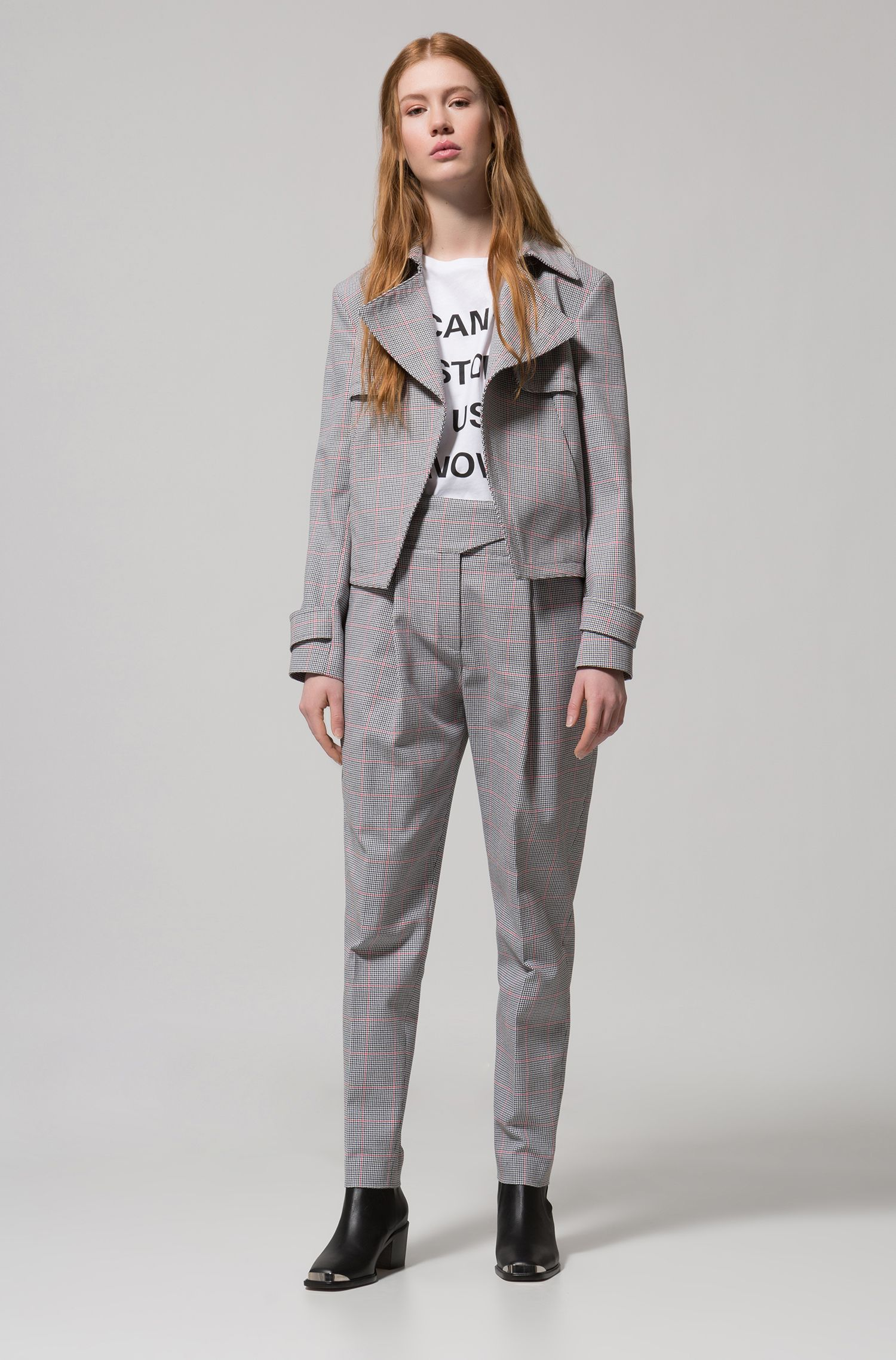 Hugo Boss - Relaxed-fit jacket in zigzag-check cotton - 3