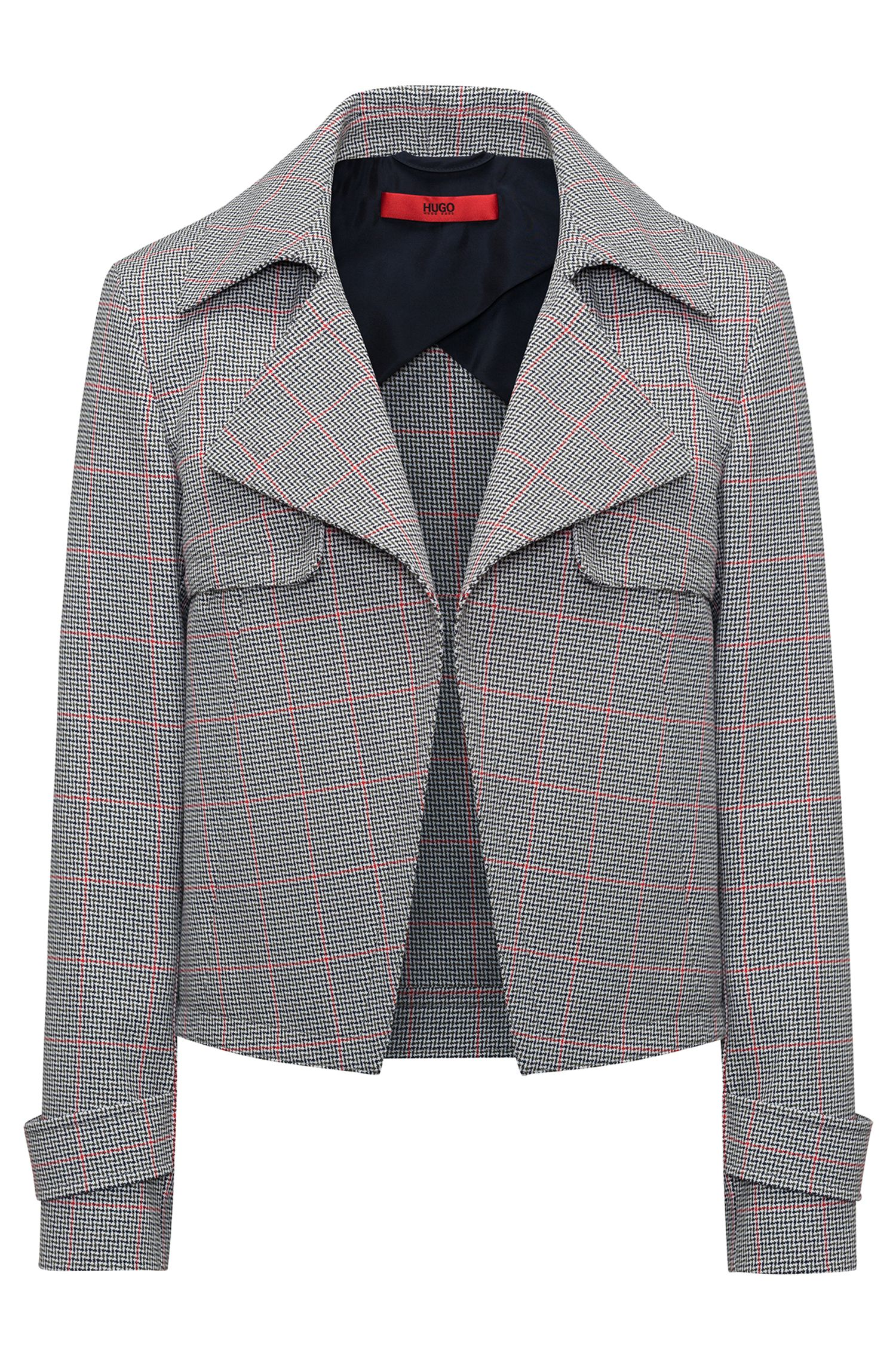 Hugo Boss - Relaxed-fit jacket in zigzag-check cotton - 1