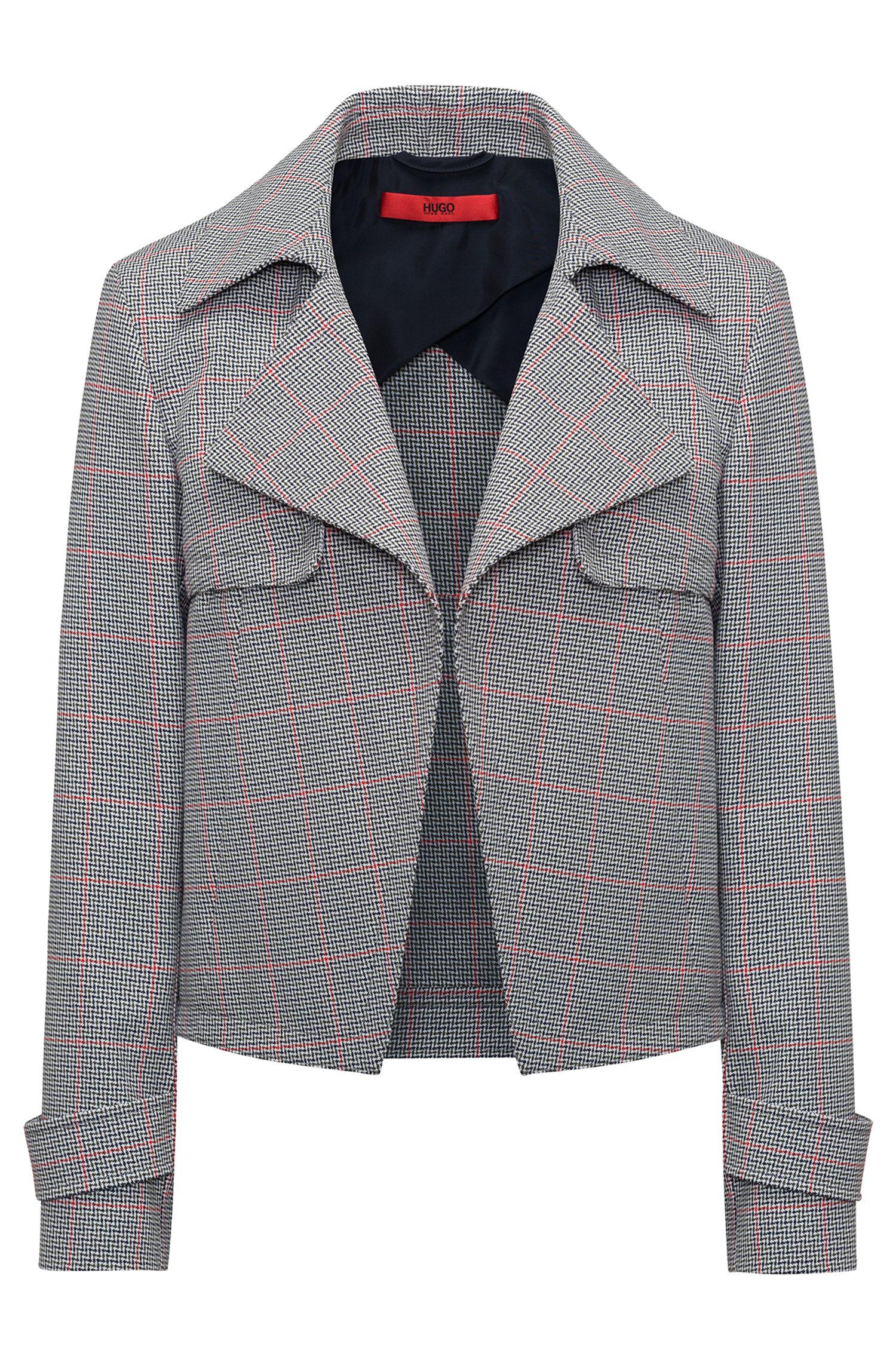 Hugo Boss - Veste Relaxed Fit en coton avec motif à carreaux en zigzag - 1