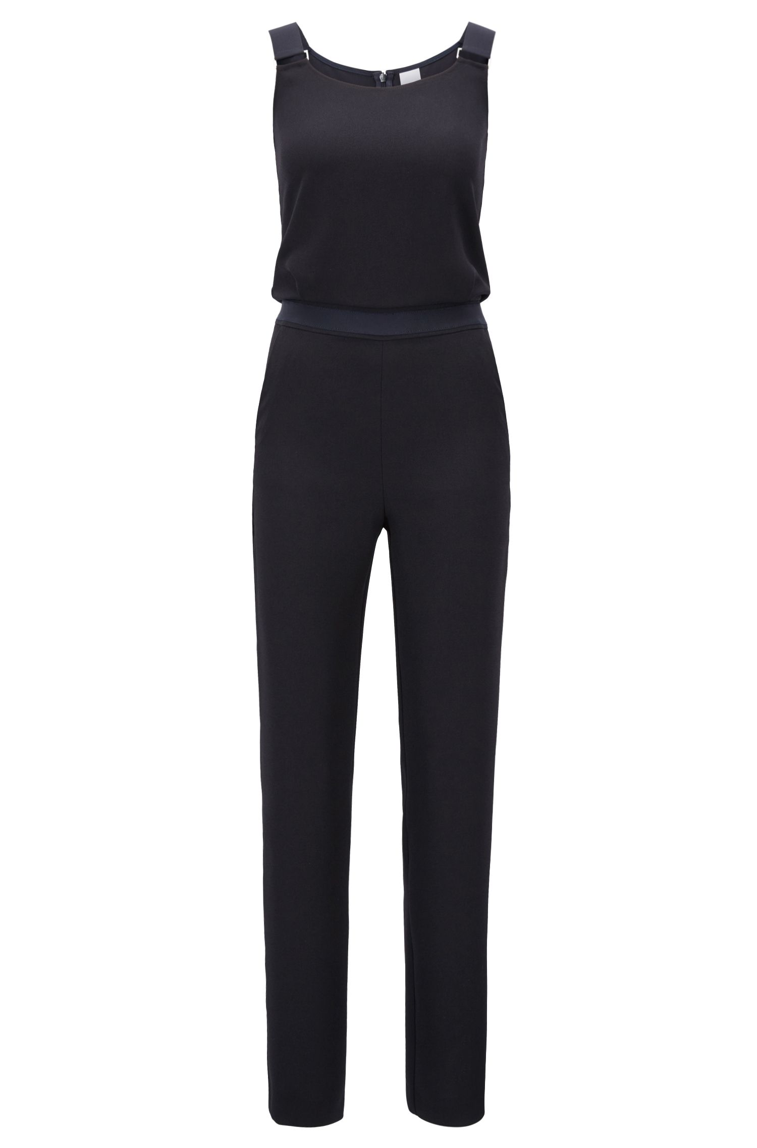 Cropped-leg jumpsuit in crepe with bow-detail straps, Dark Blue