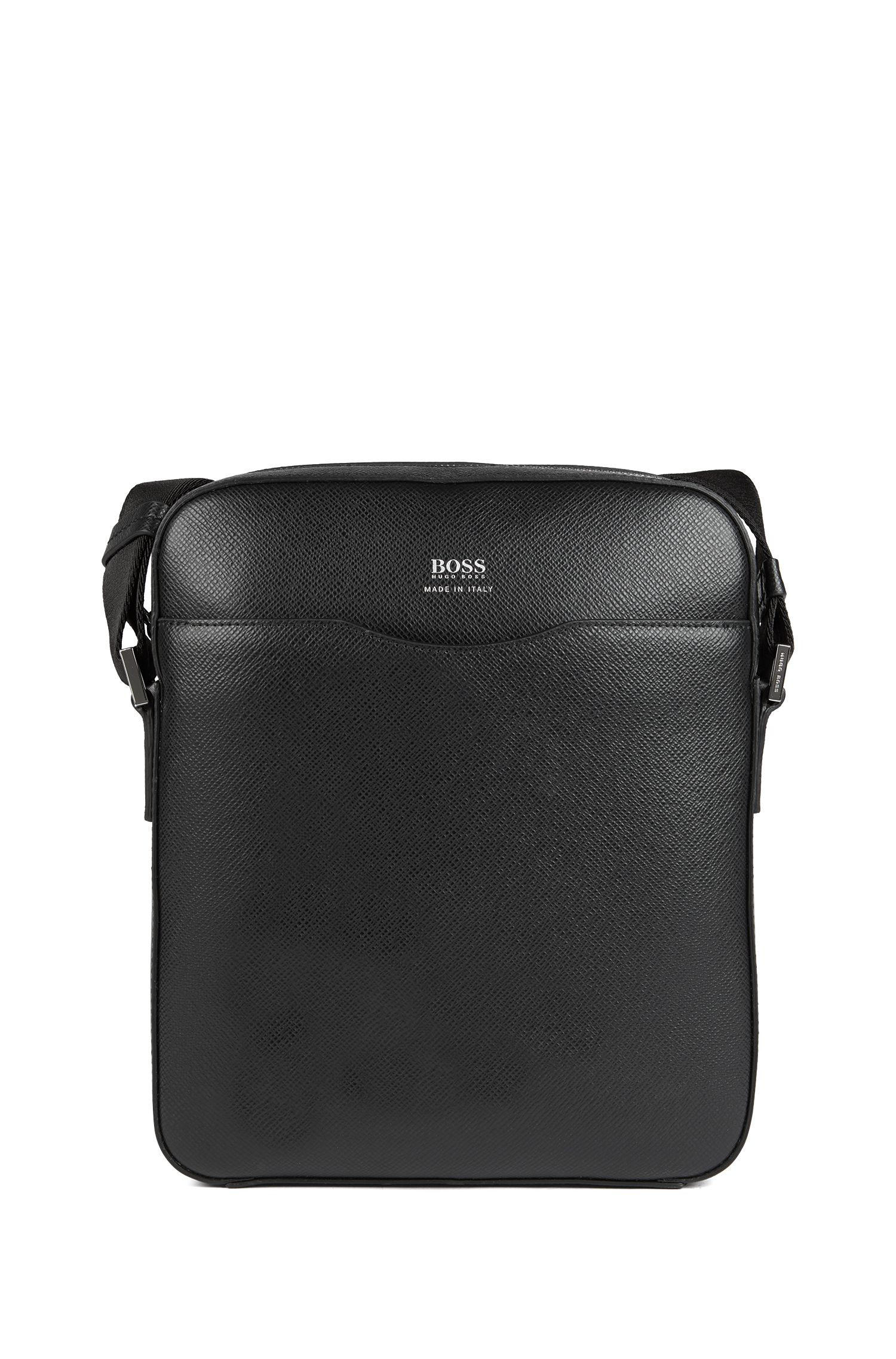Reporter bag in grained palmellato leather, Noir