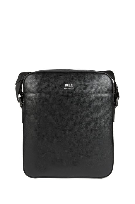 Reporter bag in grained palmellato leather, Nero